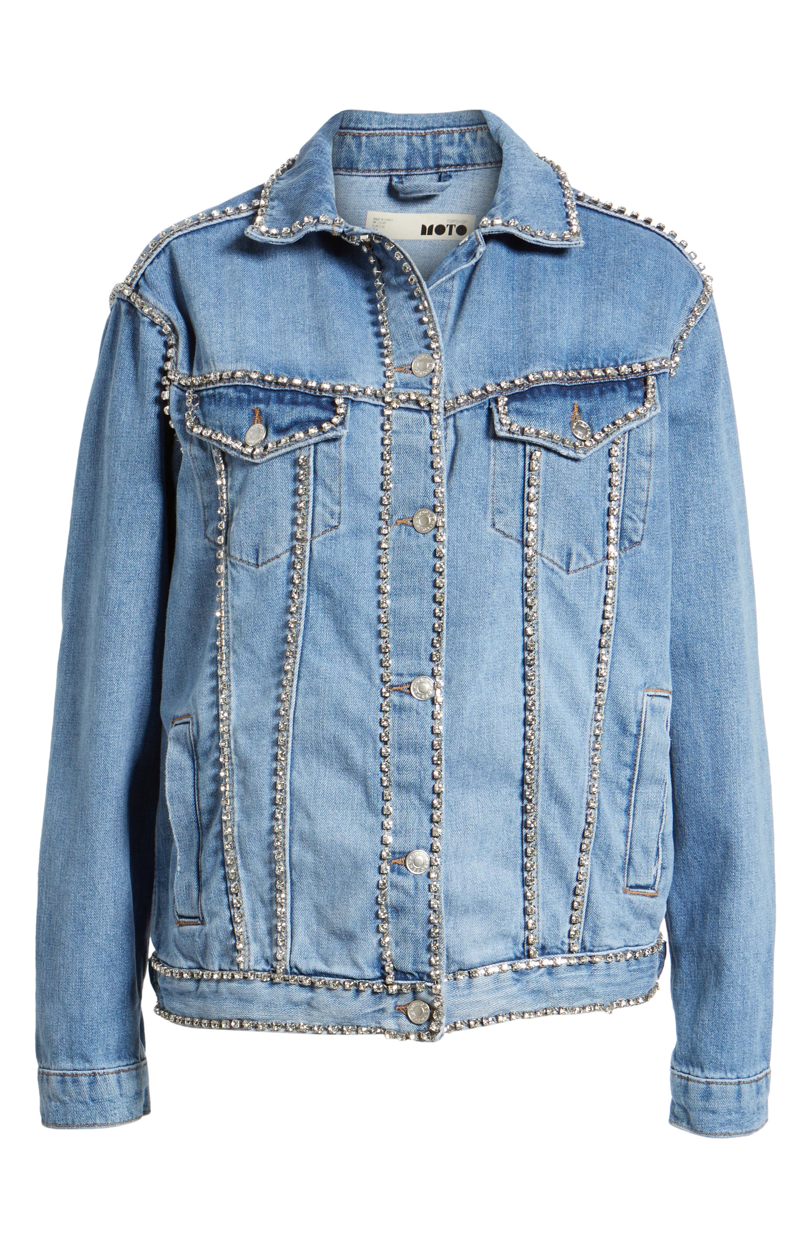 Oversize Crystal Seam Denim Jacket,                             Alternate thumbnail 6, color,                             400