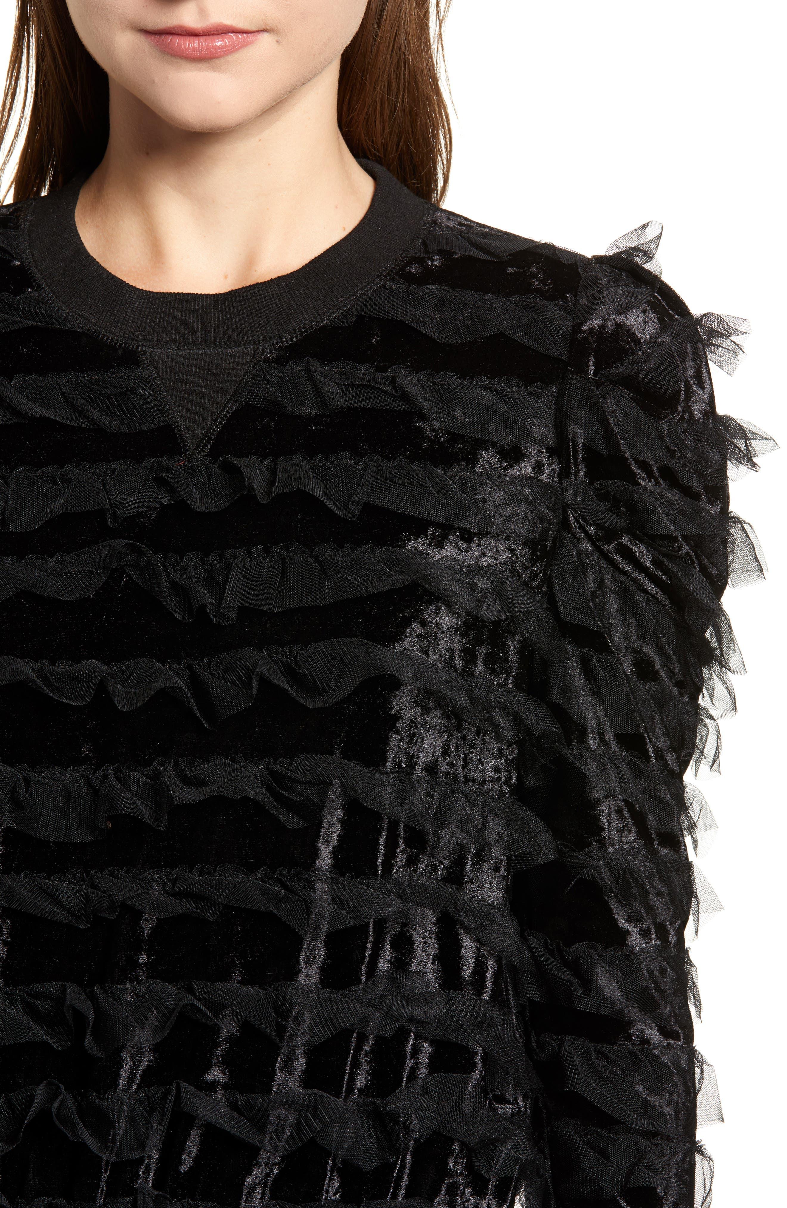 Tulle Ruffle Velour Pullover,                             Alternate thumbnail 4, color,                             BLACK MESH