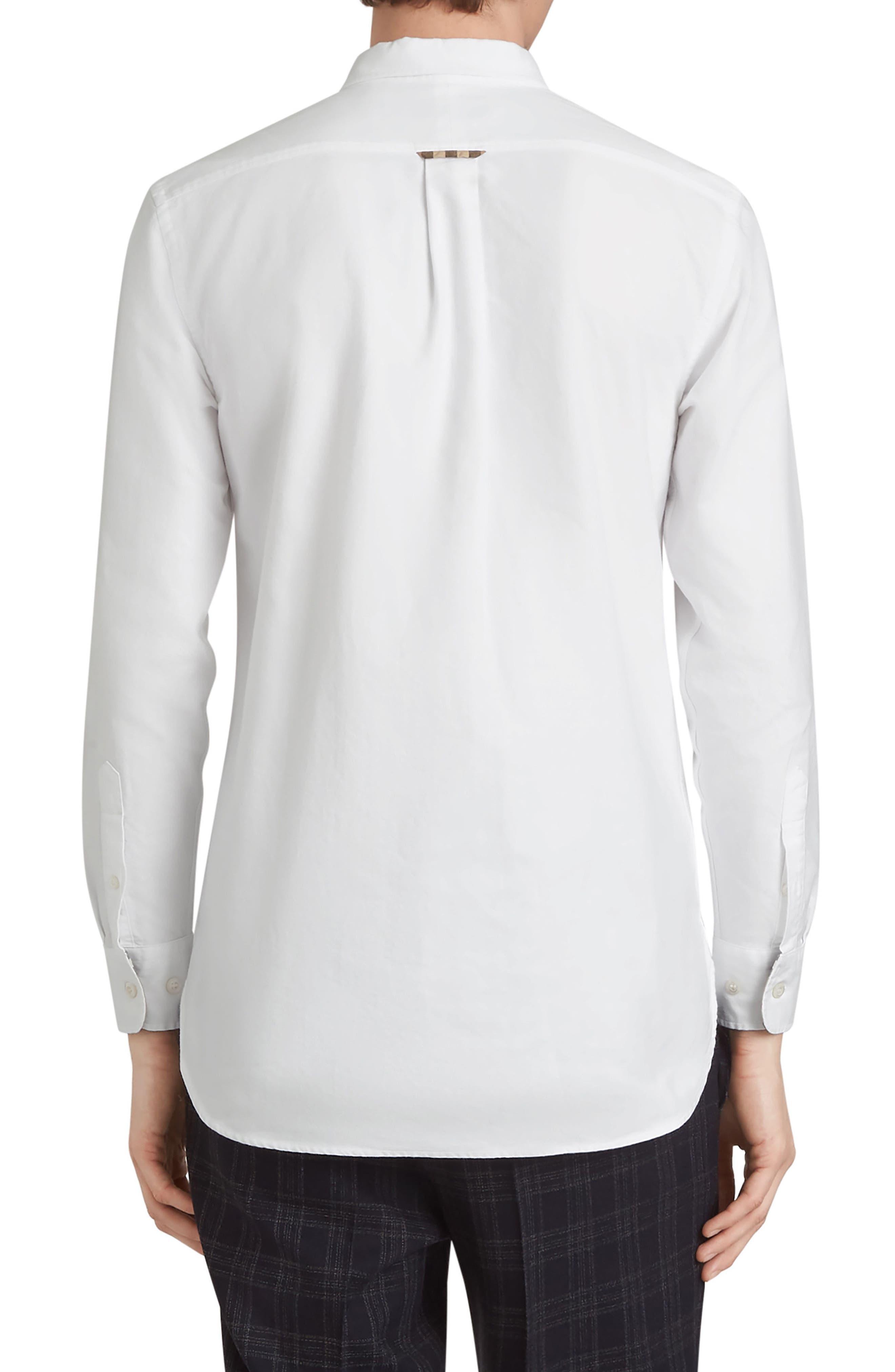 BURBERRY,                             Harry Check Trim Sport Shirt,                             Alternate thumbnail 3, color,                             WHITE