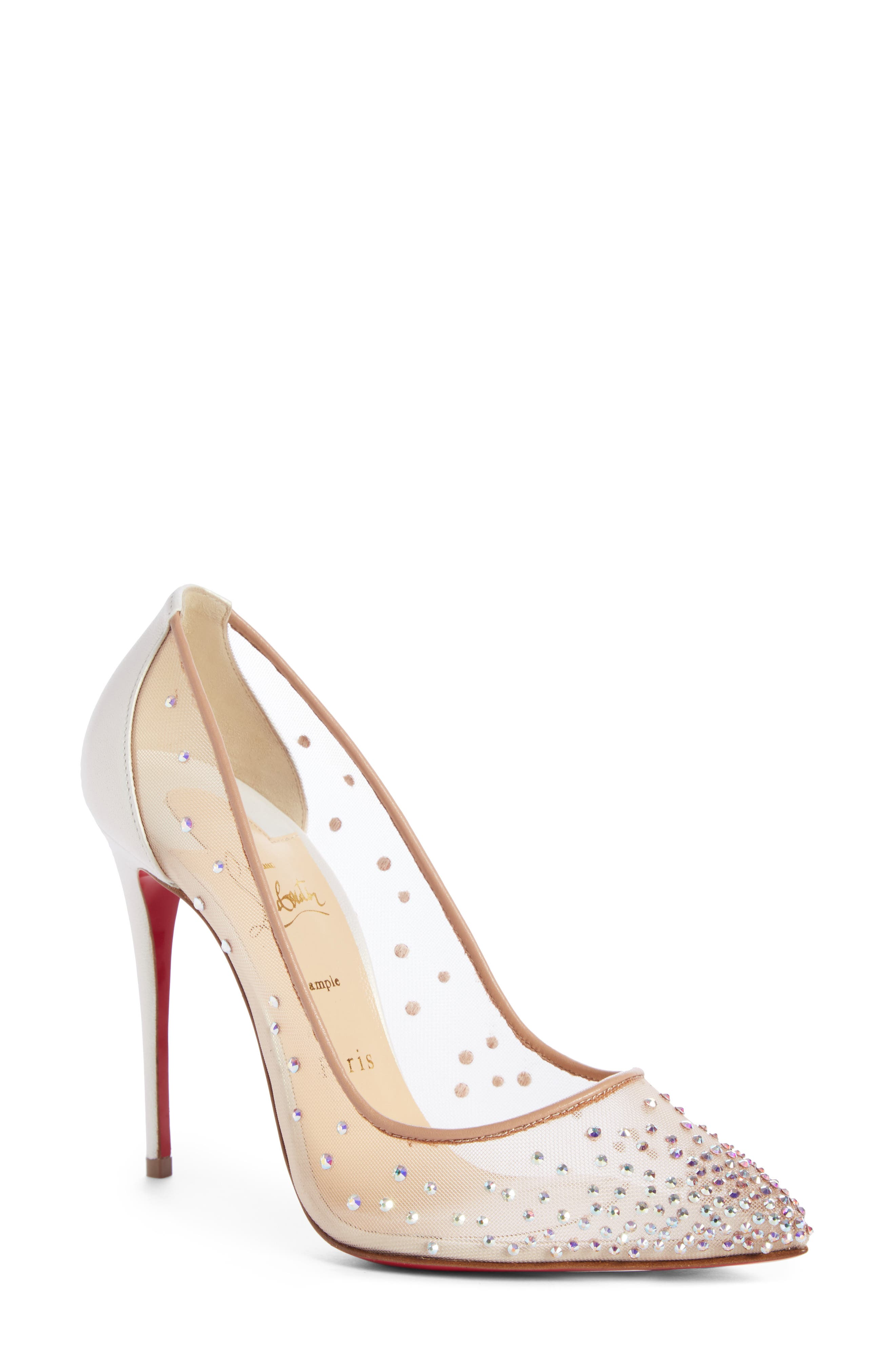 Follies Strass Pointy Toe Pump,                             Main thumbnail 1, color,                             SNOW/ NUDE