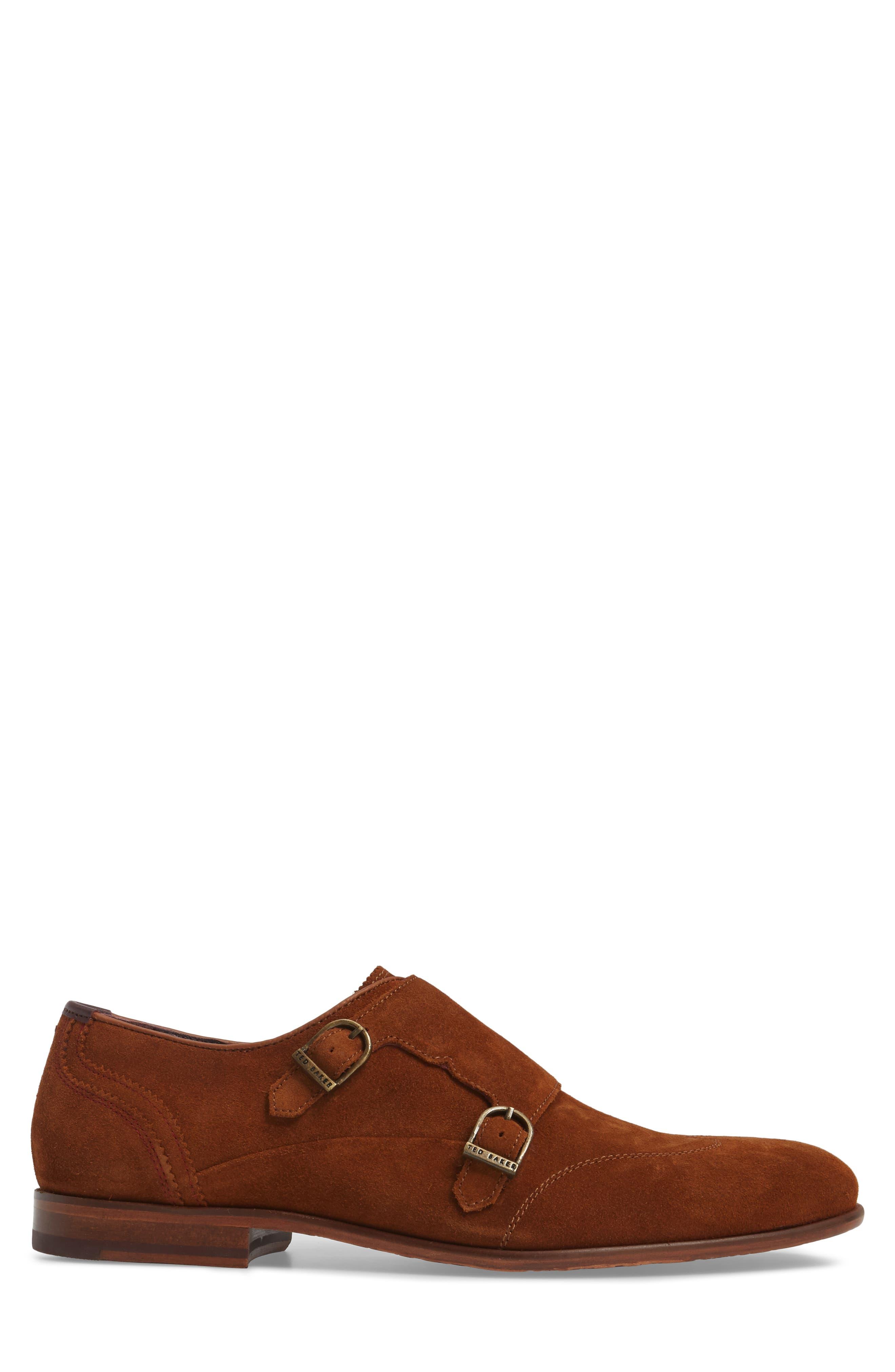 Rovere Wingtip Monk Shoe,                             Alternate thumbnail 3, color,                             TAN SUEDE