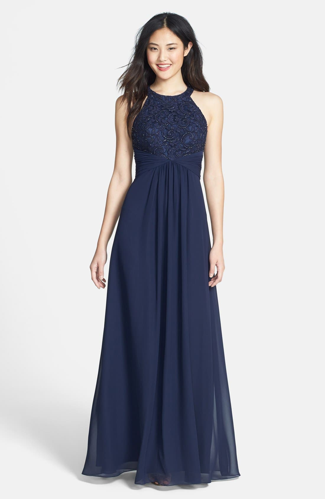 Beaded Lace & Chiffon Gown,                         Main,                         color, 410