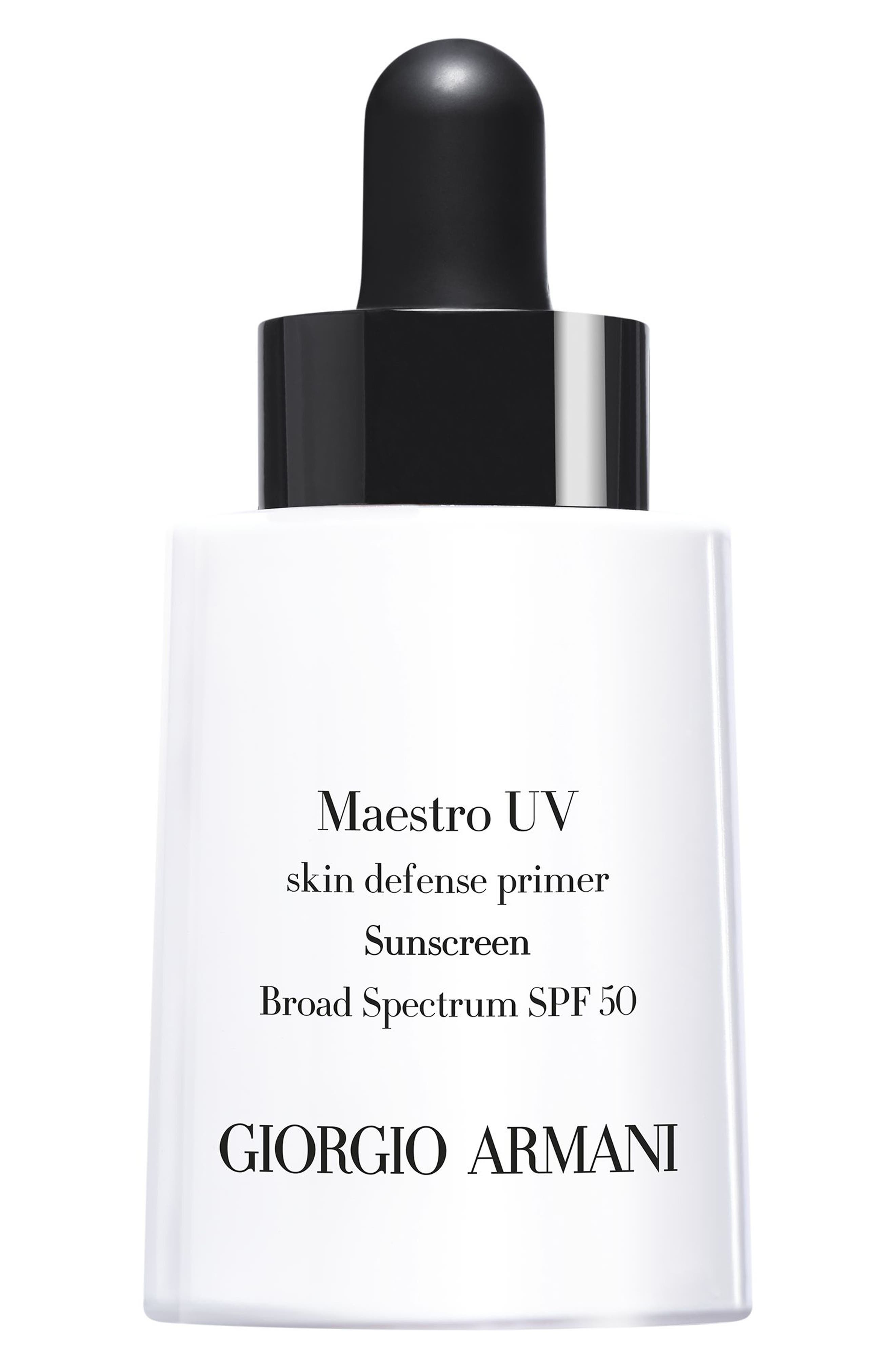 GIORGIO ARMANI,                             Maestro UV Skin Defense Primer Sunscreen SPF 50,                             Main thumbnail 1, color,                             NO COLOR
