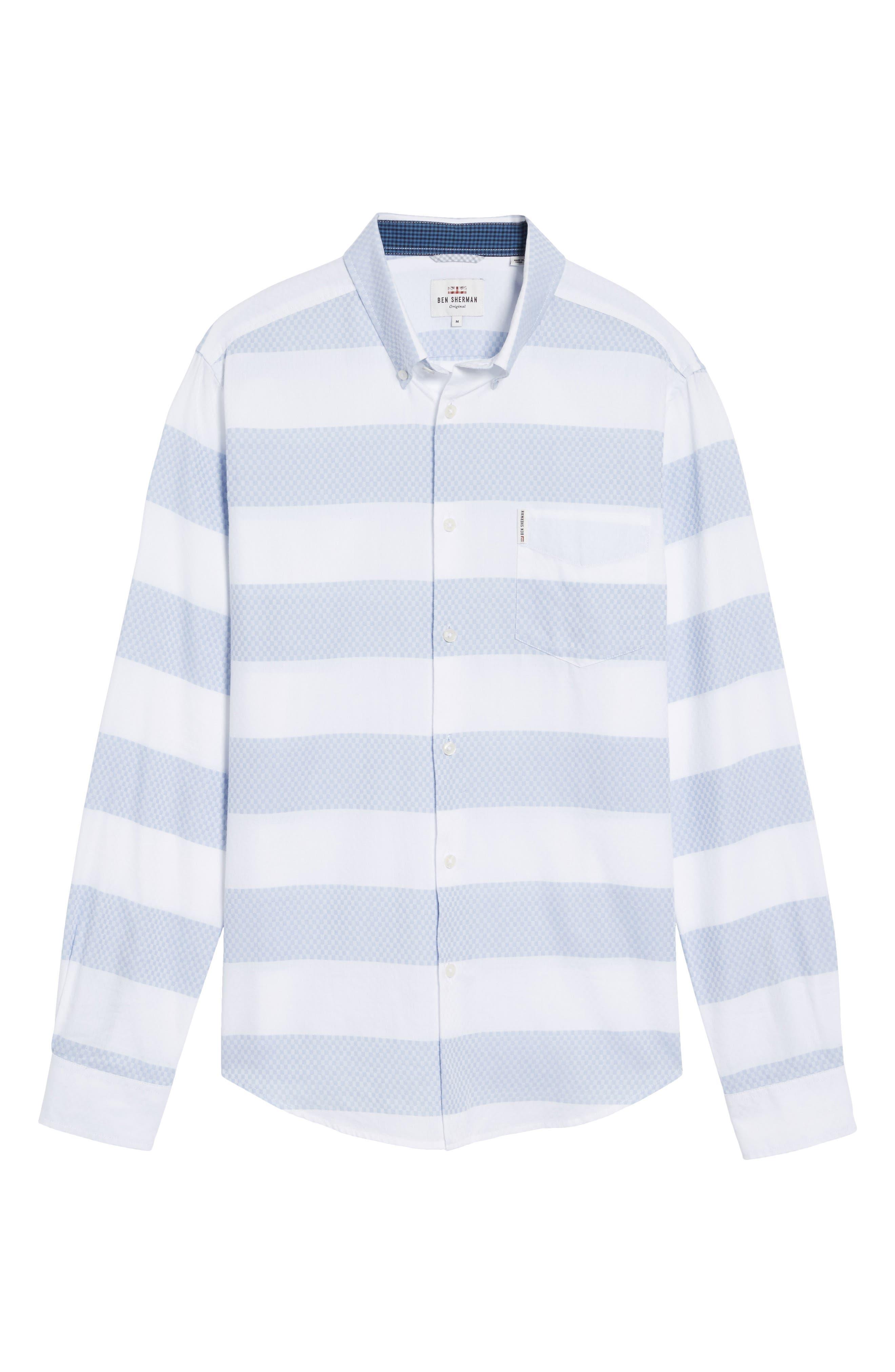 Dobby Gingham Stripes Shirt,                             Alternate thumbnail 6, color,