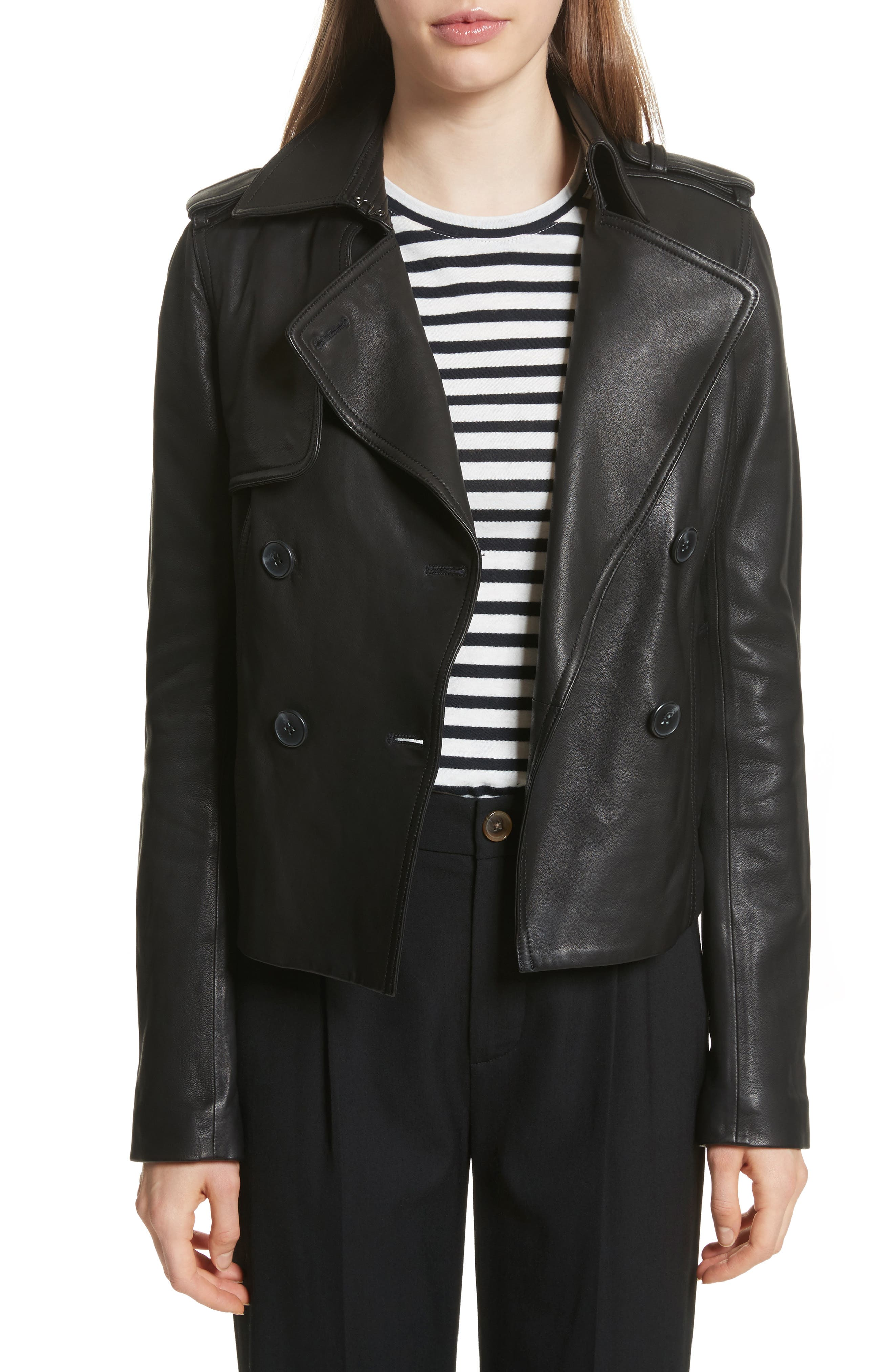Crop Leather Trench Coat,                             Main thumbnail 1, color,                             001