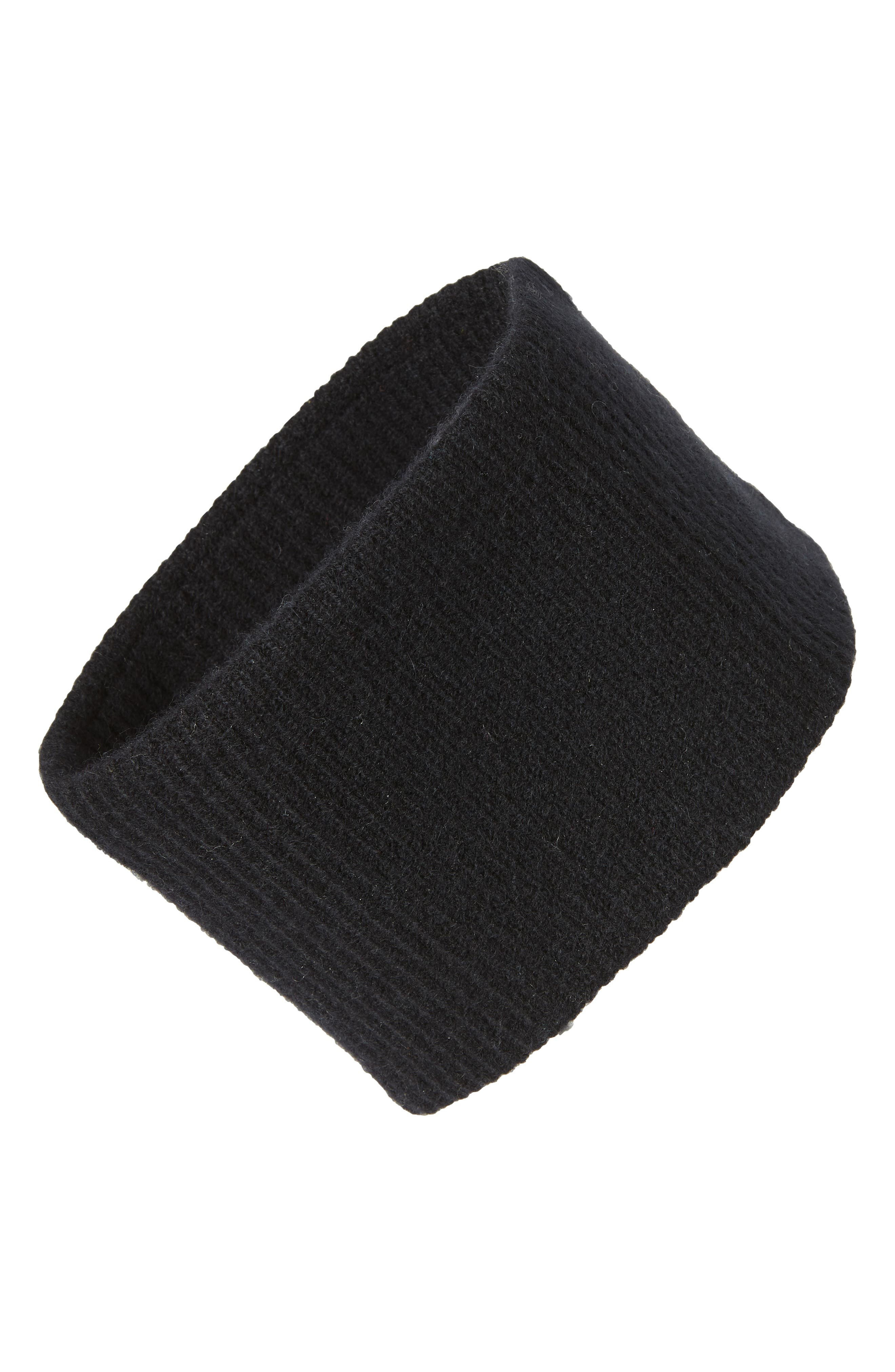 Ribbed Cashmere Head Wrap,                             Main thumbnail 1, color,                             BLACK