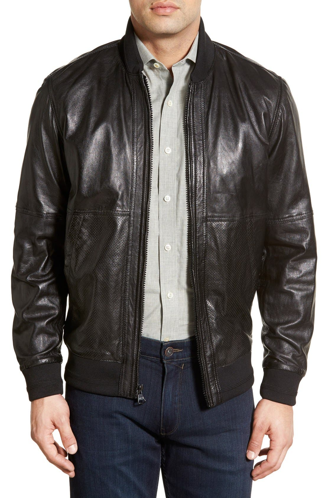MARC NEW YORK,                             'Newport' Leather Bomber Jacket,                             Main thumbnail 1, color,                             001