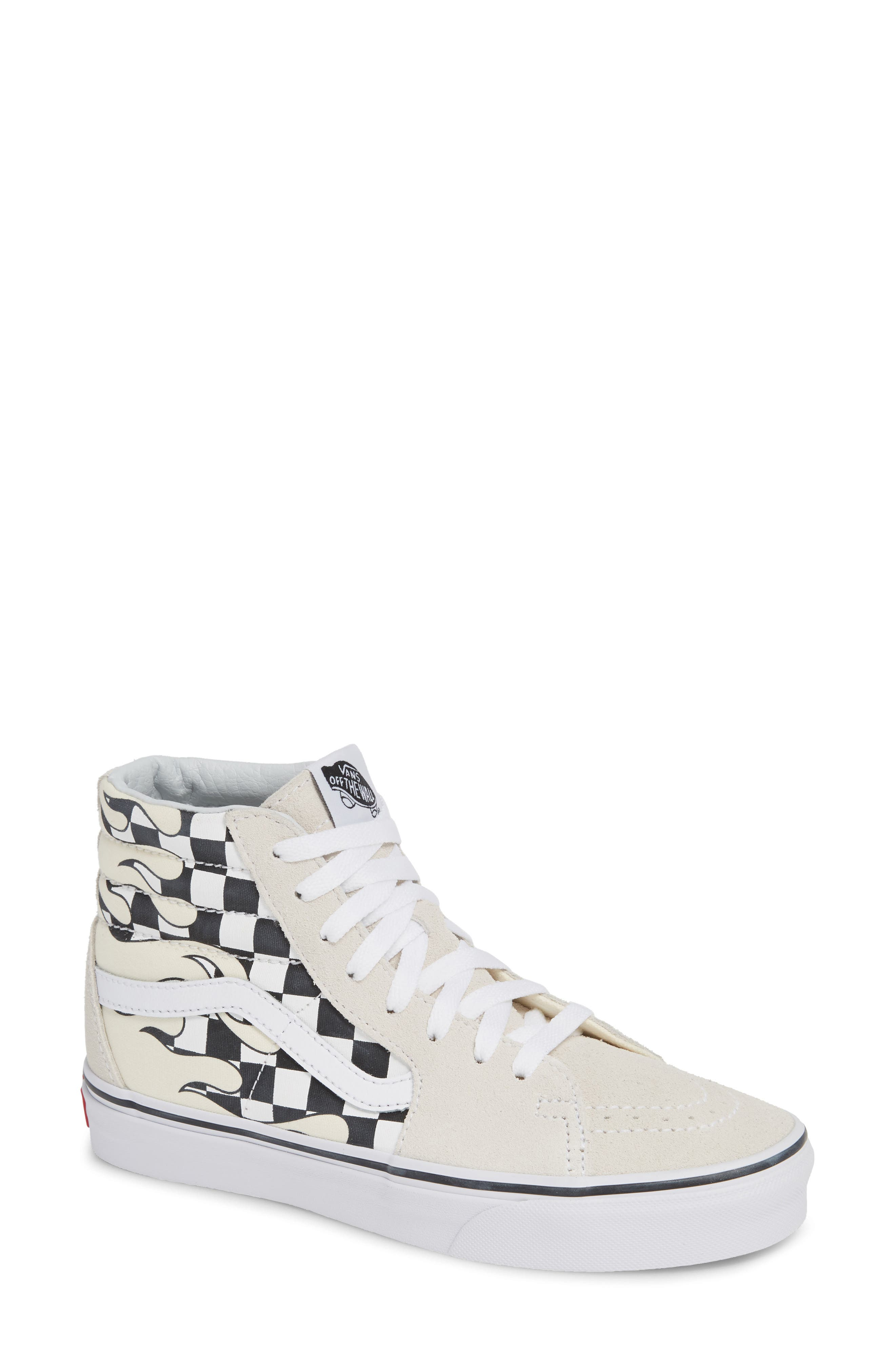 Sk8-Hi Checker Sneaker,                             Main thumbnail 1, color,                             CLASSIC WHITE/ TRUE WHITE