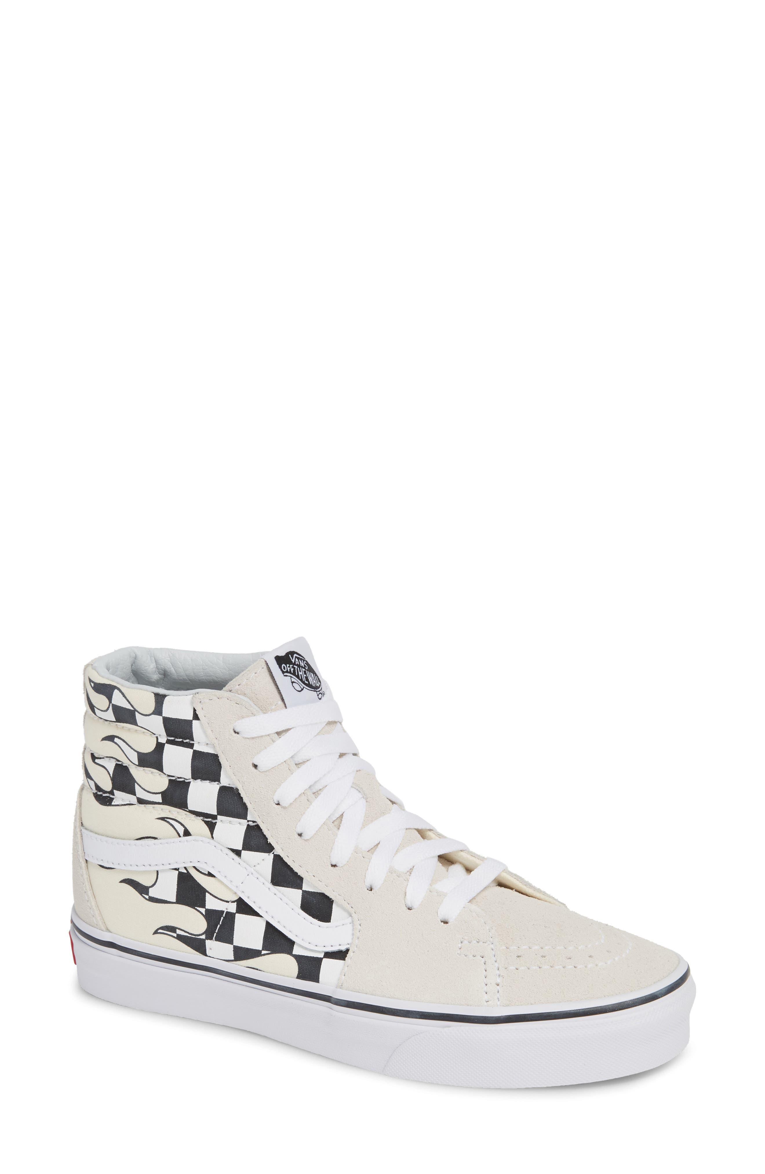 Sk8-Hi Checker Sneaker,                         Main,                         color, CLASSIC WHITE/ TRUE WHITE
