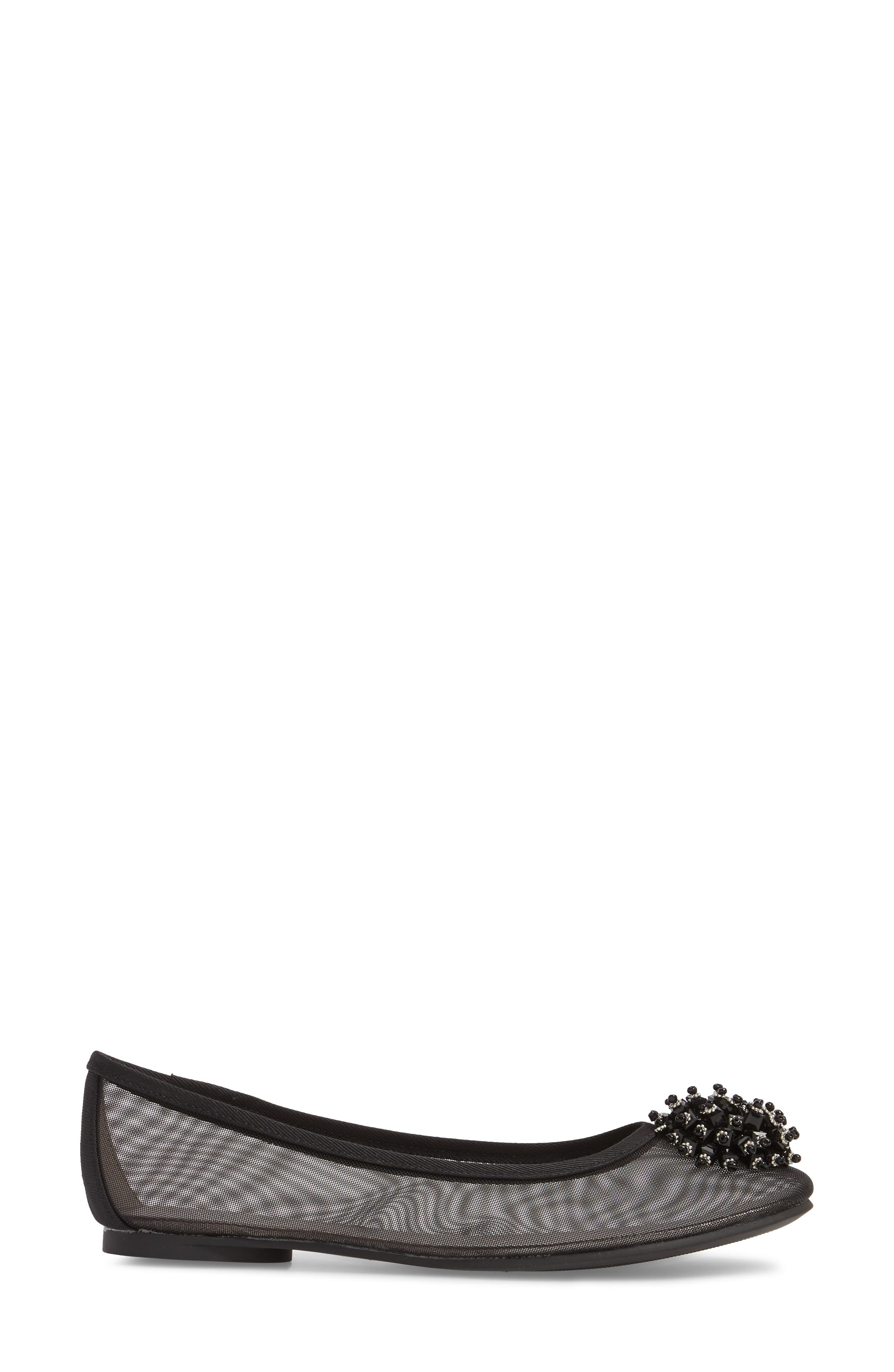 ADRIANNA PAPELL,                             Stevie Embellished Flat,                             Alternate thumbnail 3, color,                             001