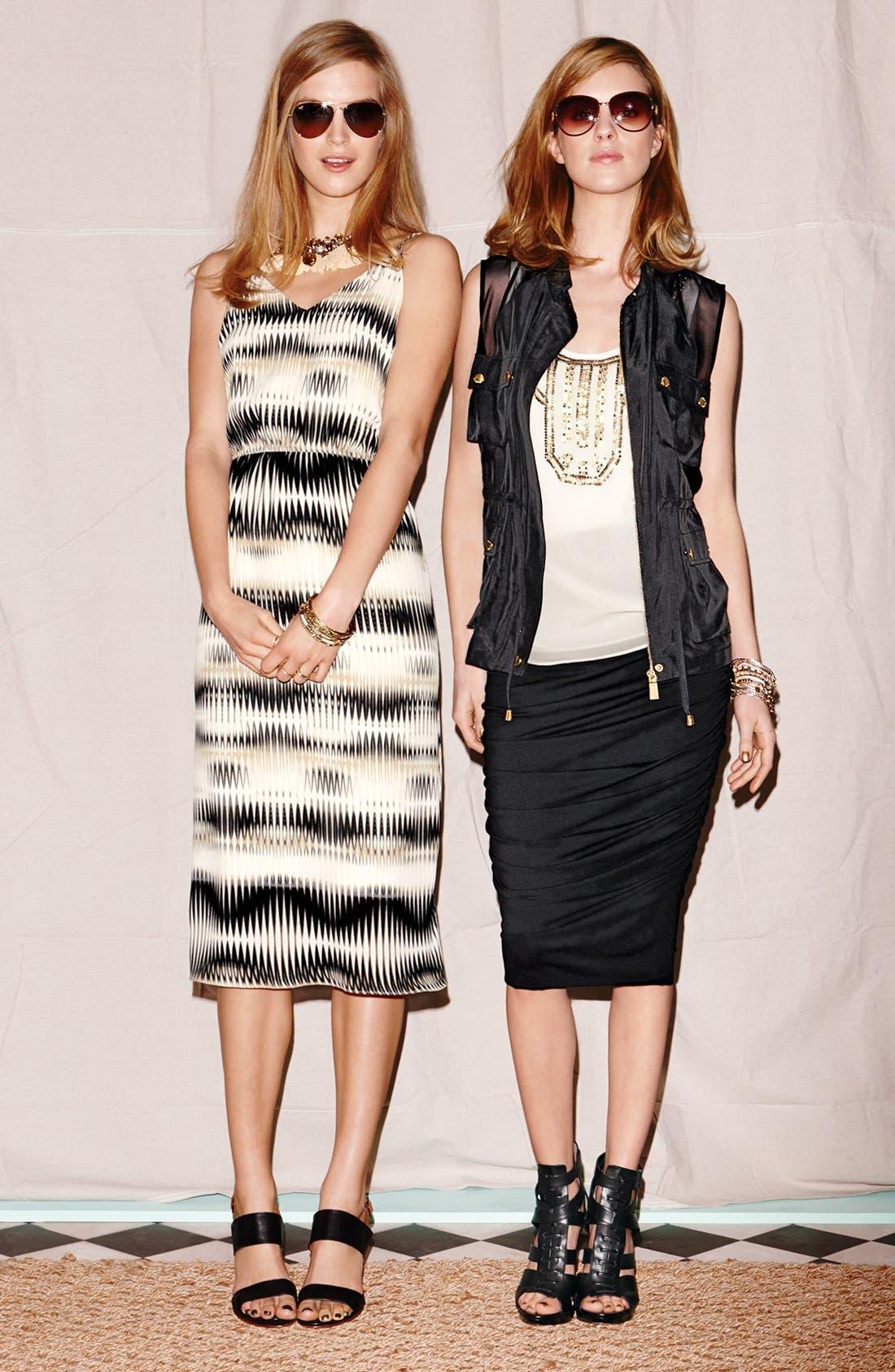 'Linear Echoes' Print Midi Dress,                             Alternate thumbnail 5, color,