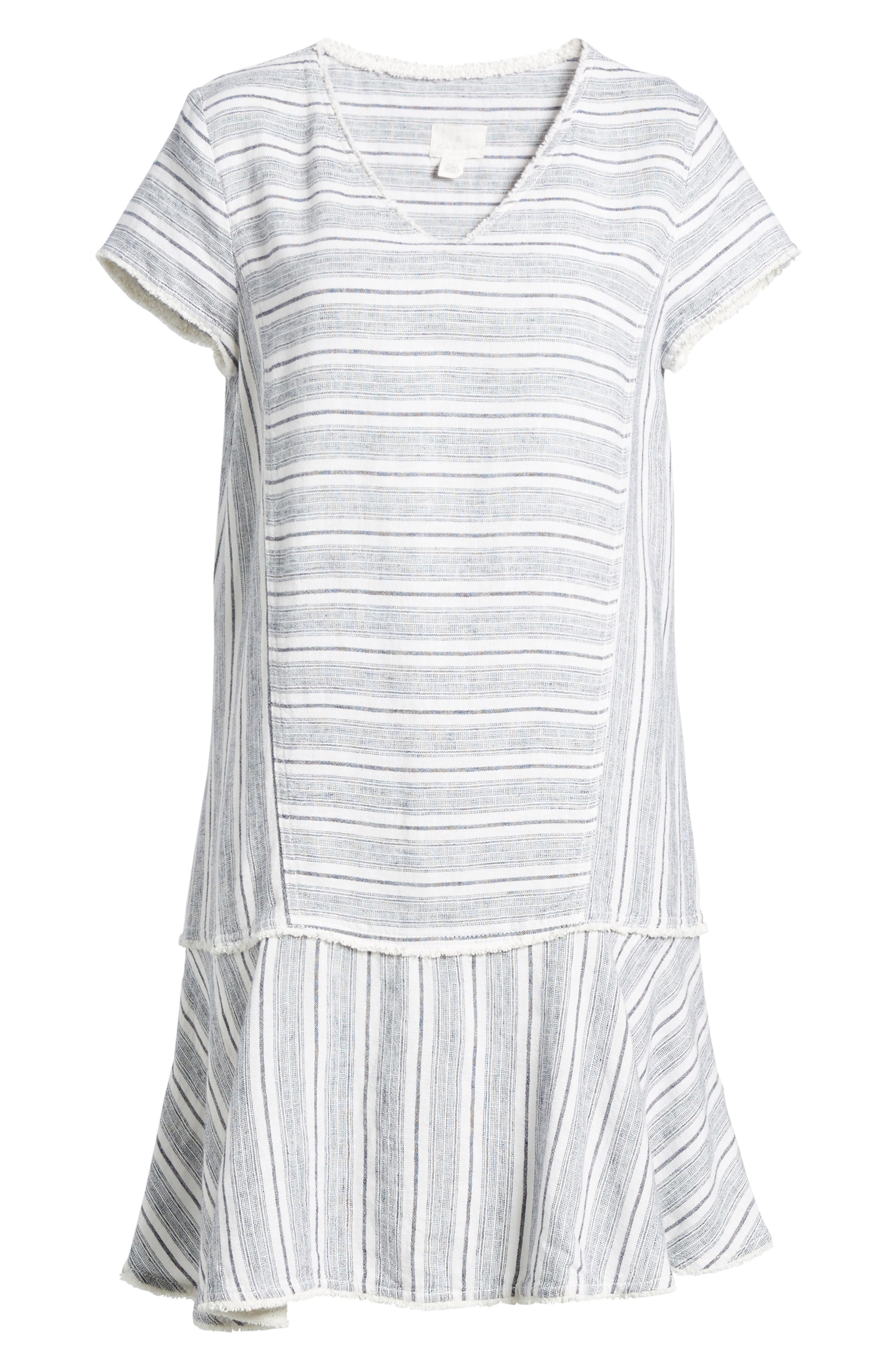 Linen Blend Stripe Dress,                             Alternate thumbnail 7, color,                             900