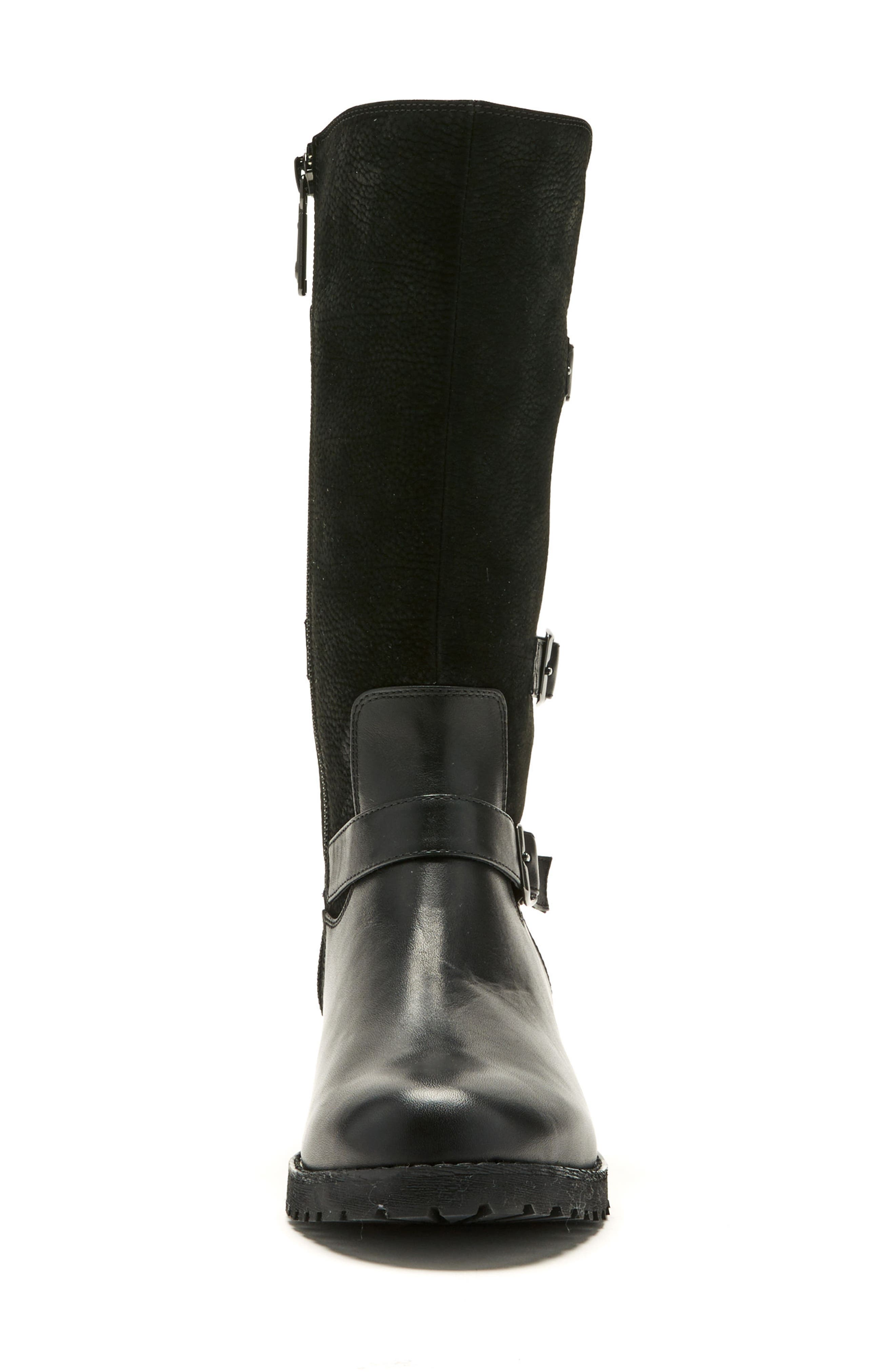 Lenie Waterproof Moto Boot,                             Alternate thumbnail 4, color,                             BLACK LEATHER