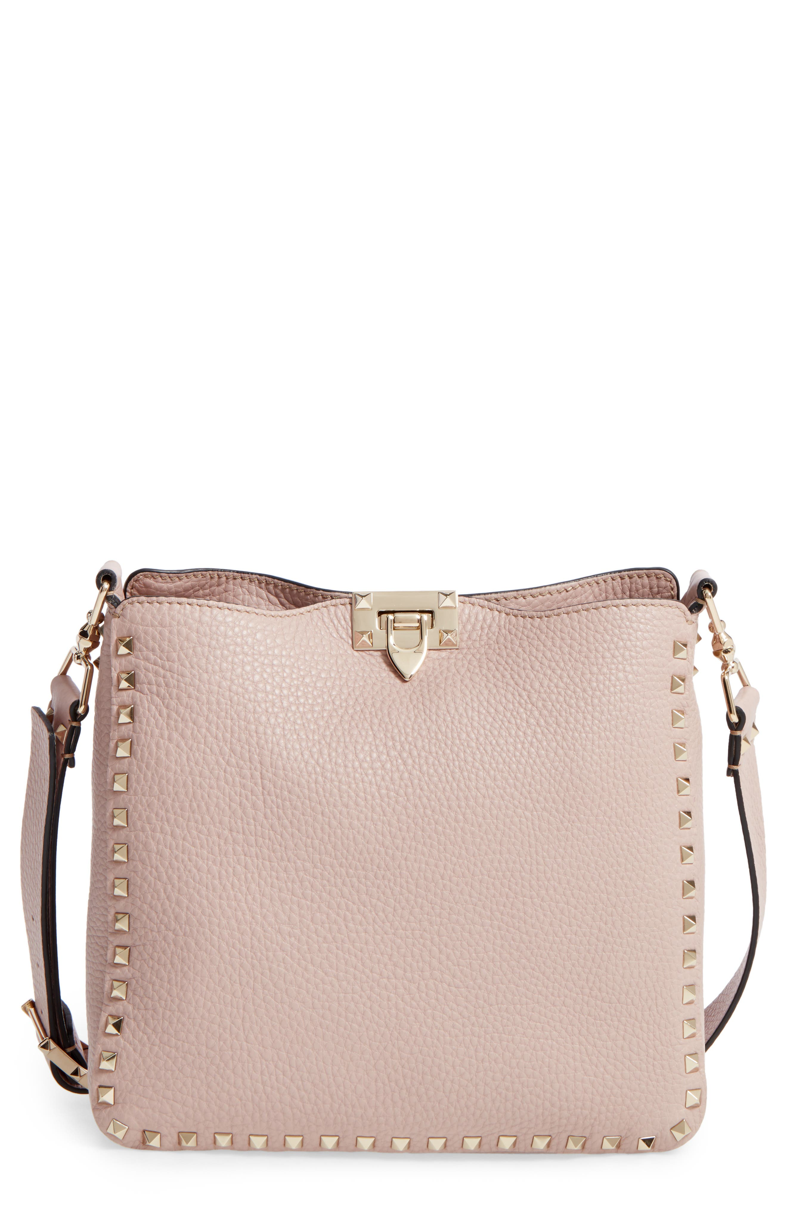 Vitello Rockstud Leather Hobo,                         Main,                         color, 950