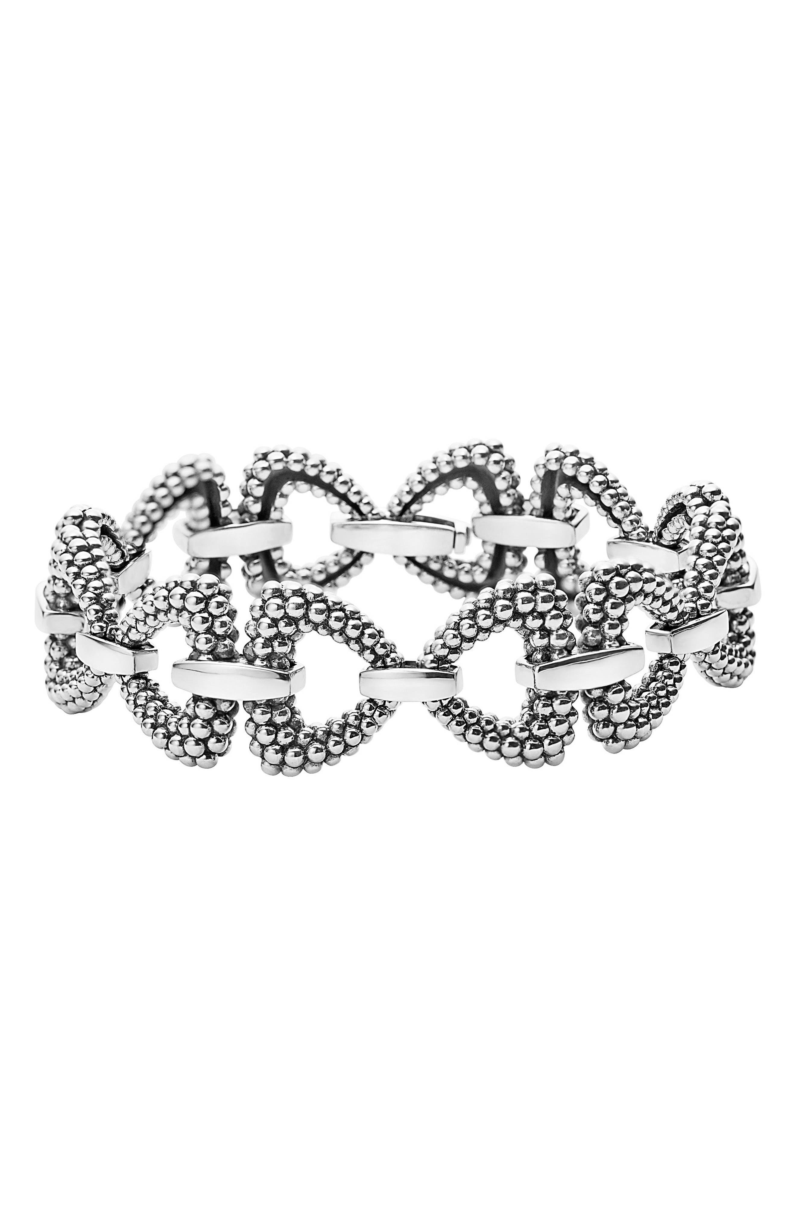 Derby Caviar Connector Link Bracelet,                             Main thumbnail 1, color,                             SILVER