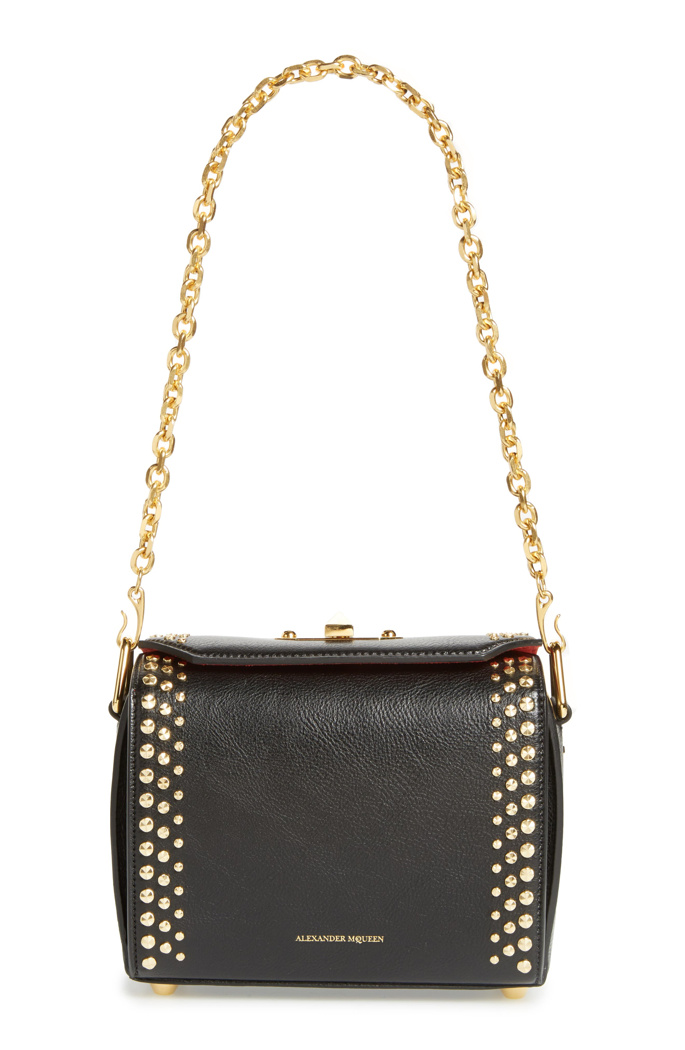 Box Bag 19 Studded Leather Bag,                             Main thumbnail 1, color,                             BLACK