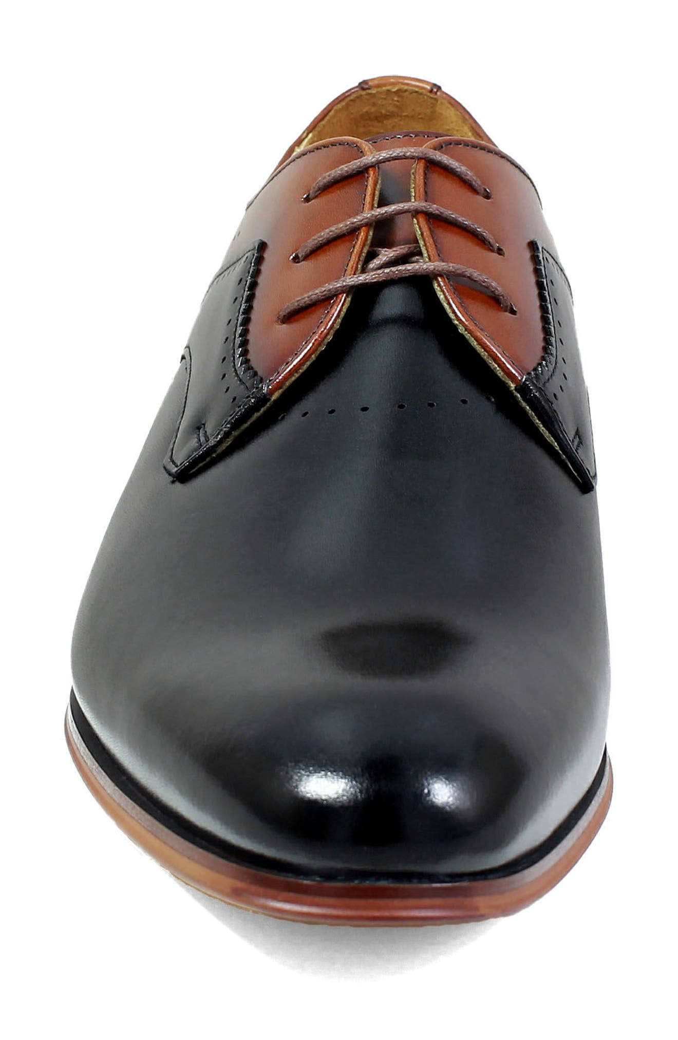 Savion Plain Toe Derby,                             Alternate thumbnail 4, color,                             BLACK/ COGNAC LEATHER