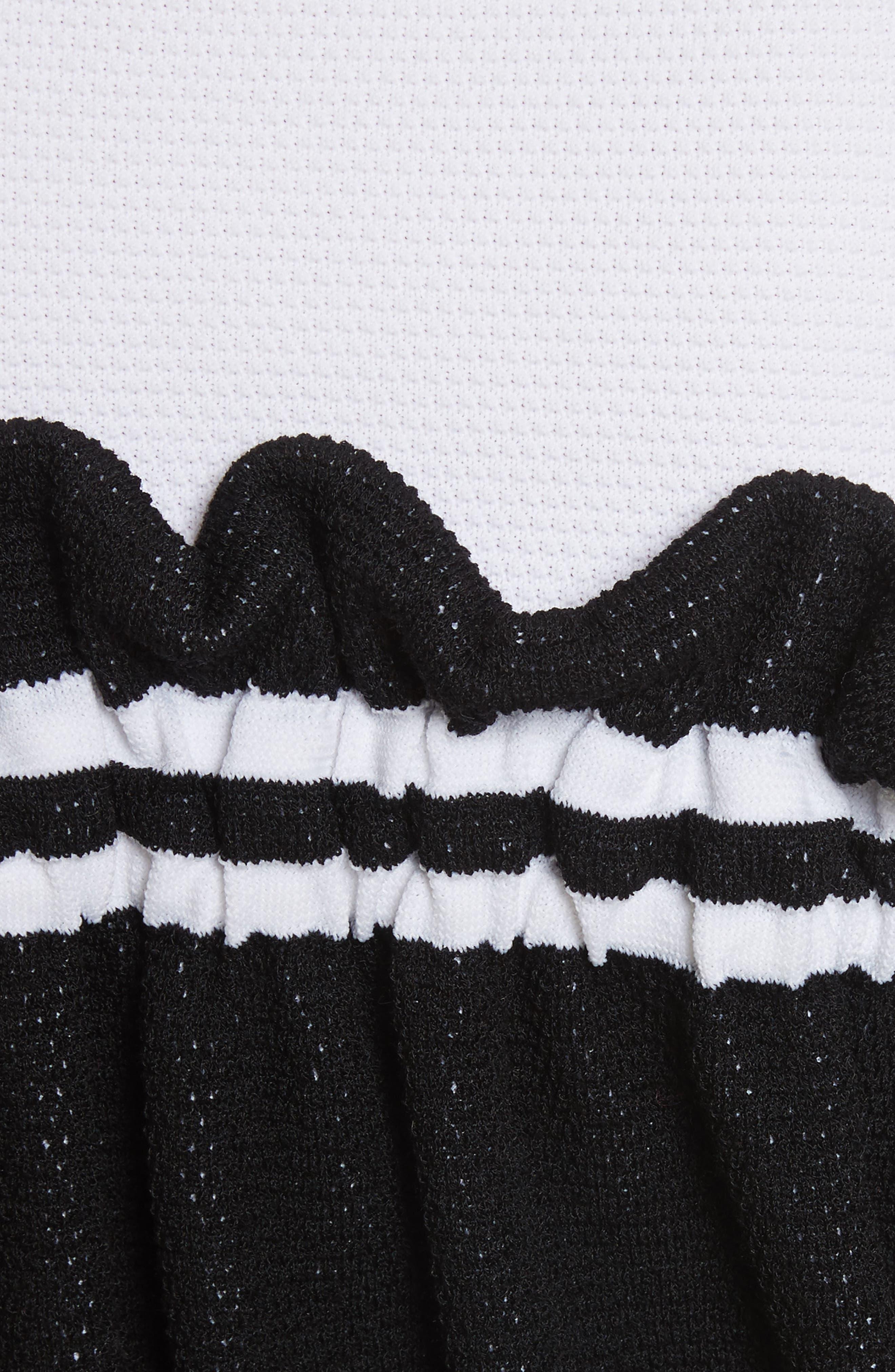 Ruffle Overlay Knit Turtleneck,                             Alternate thumbnail 5, color,                             001