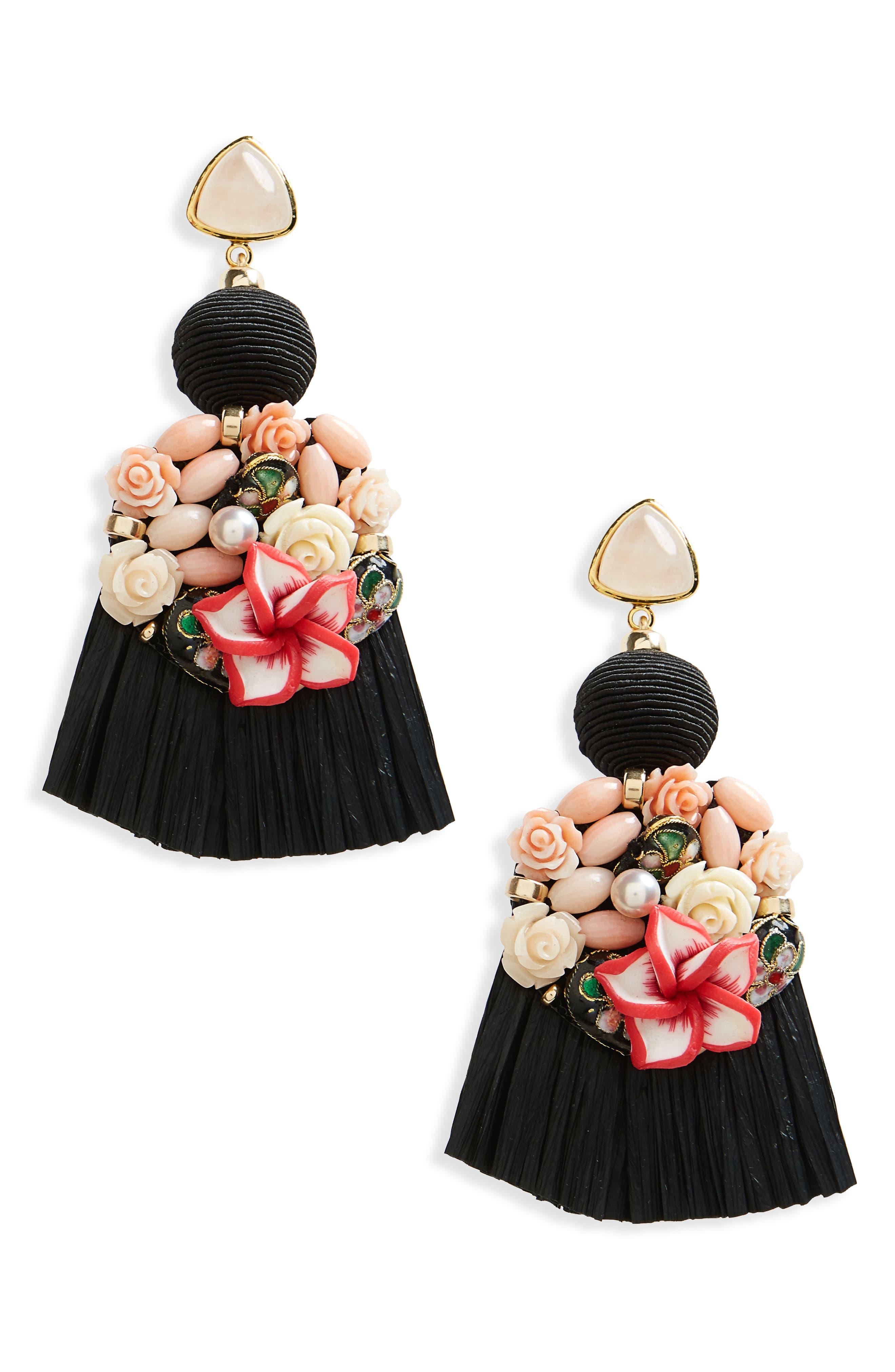 Dolce Vita Tassel Drop Earrings,                             Main thumbnail 1, color,                             BLACK MULTI