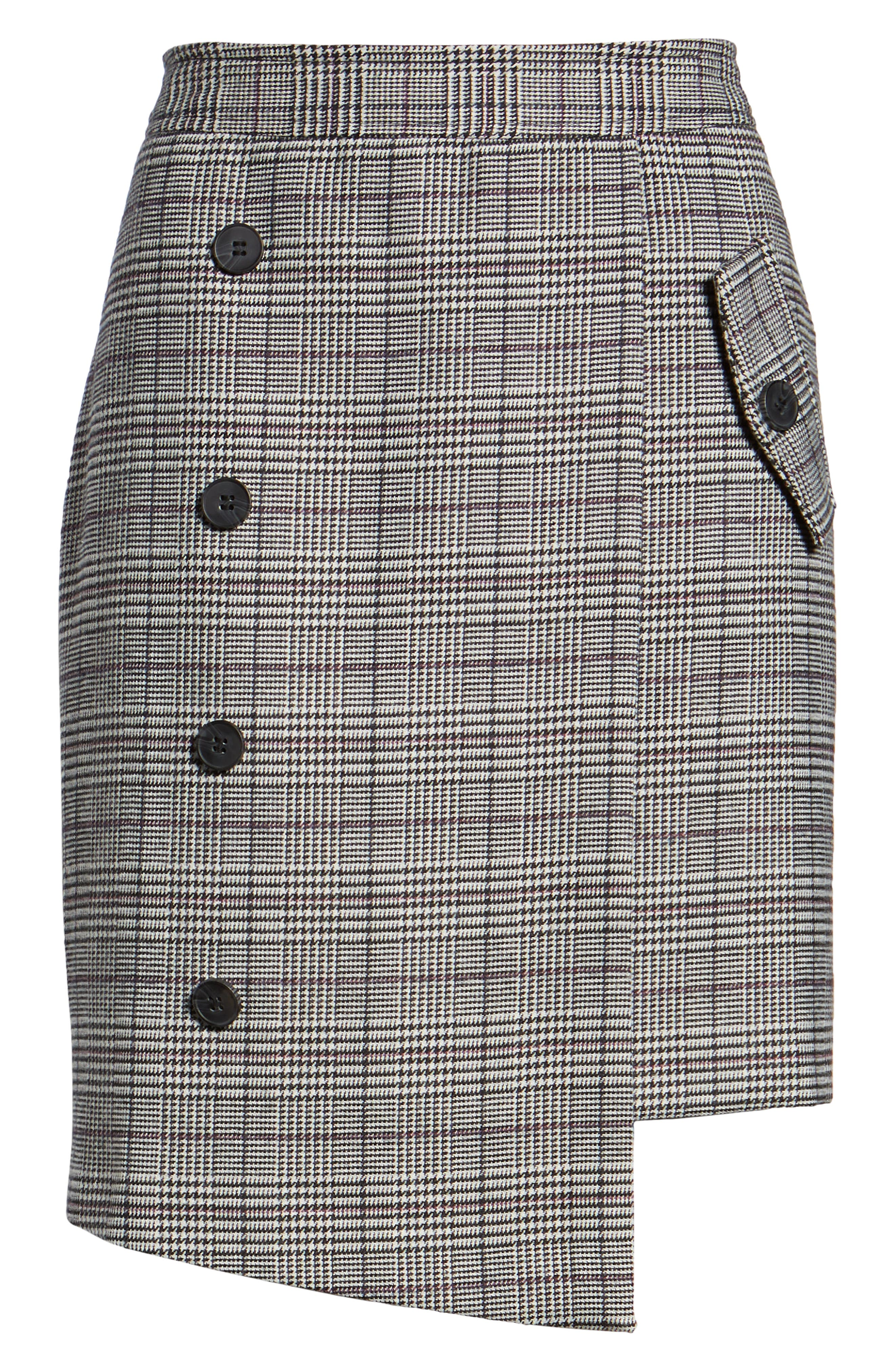 Chriselle Lim Bianca Houndstooth Button Front Skirt,                             Alternate thumbnail 7, color,                             GREY PLAID