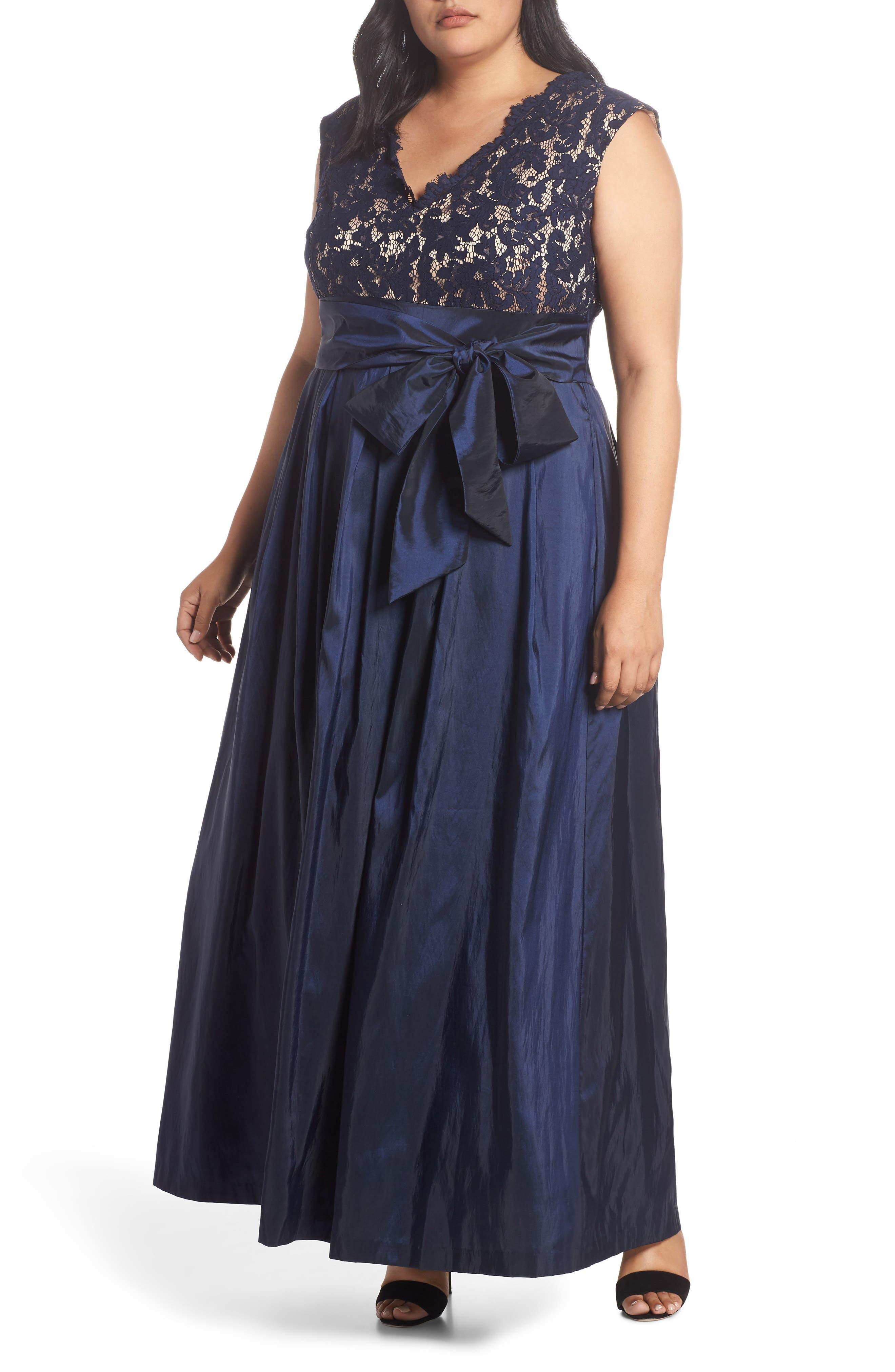 Plus Size Eliza J Lace & Taffeta Ballgown