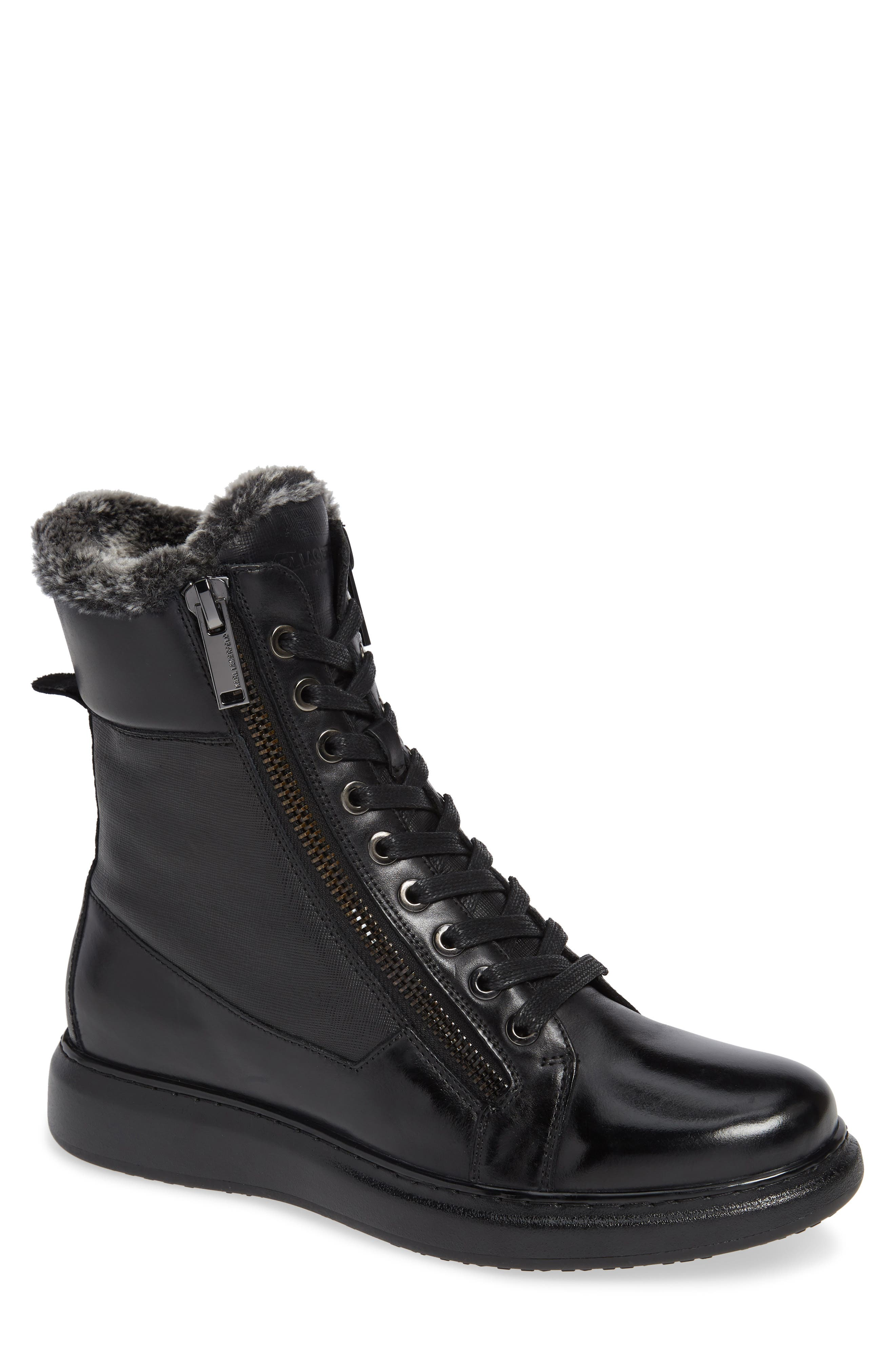Lace-Up Boot with Faux Fur,                         Main,                         color, 001