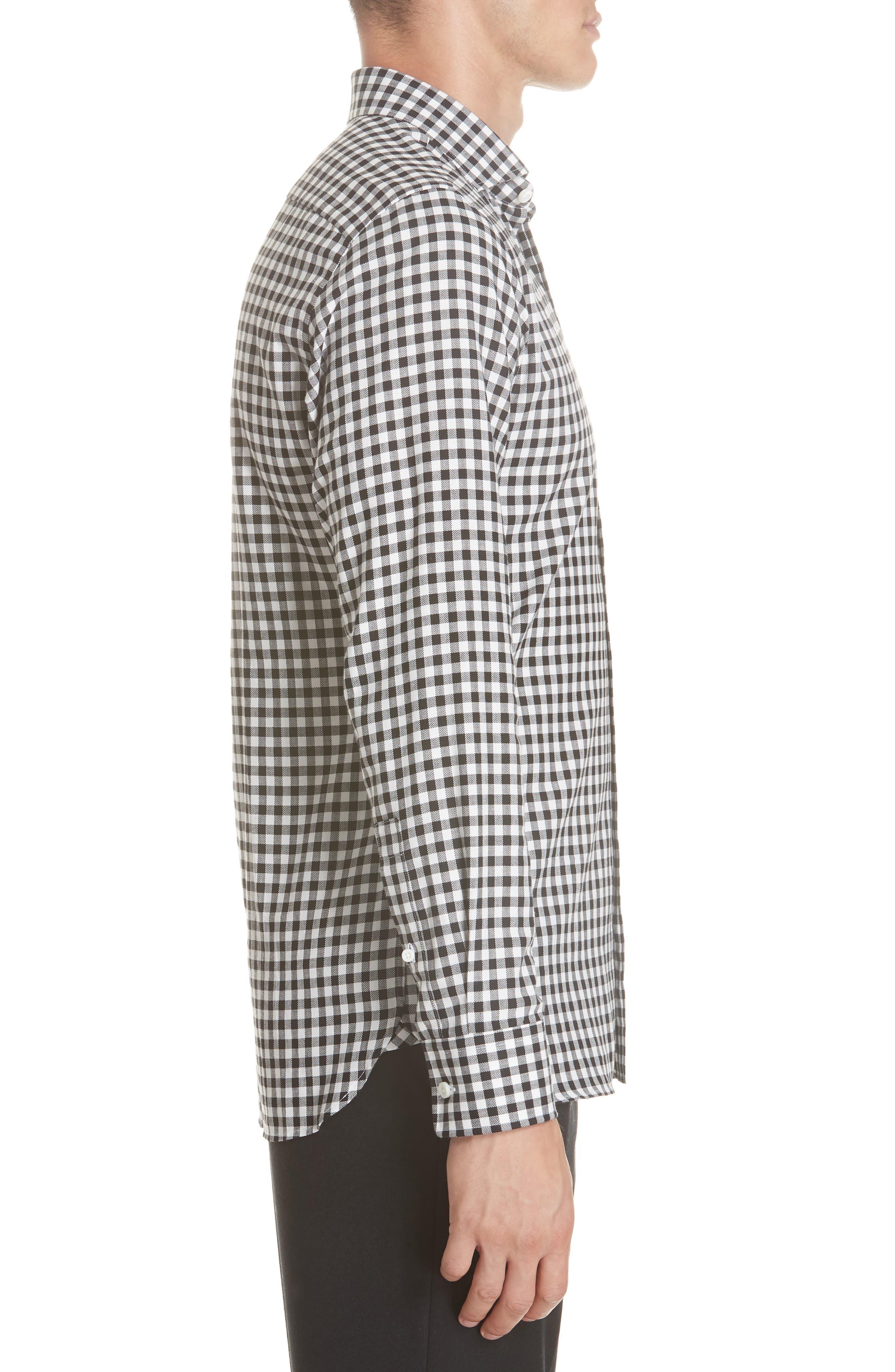 Trim Fit Check Dress Shirt,                             Alternate thumbnail 4, color,                             BLACK