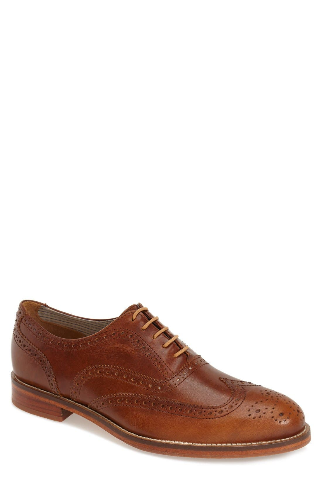 'Charlie Plus' Wingtip Oxford,                         Main,                         color, BRASS LEATHER