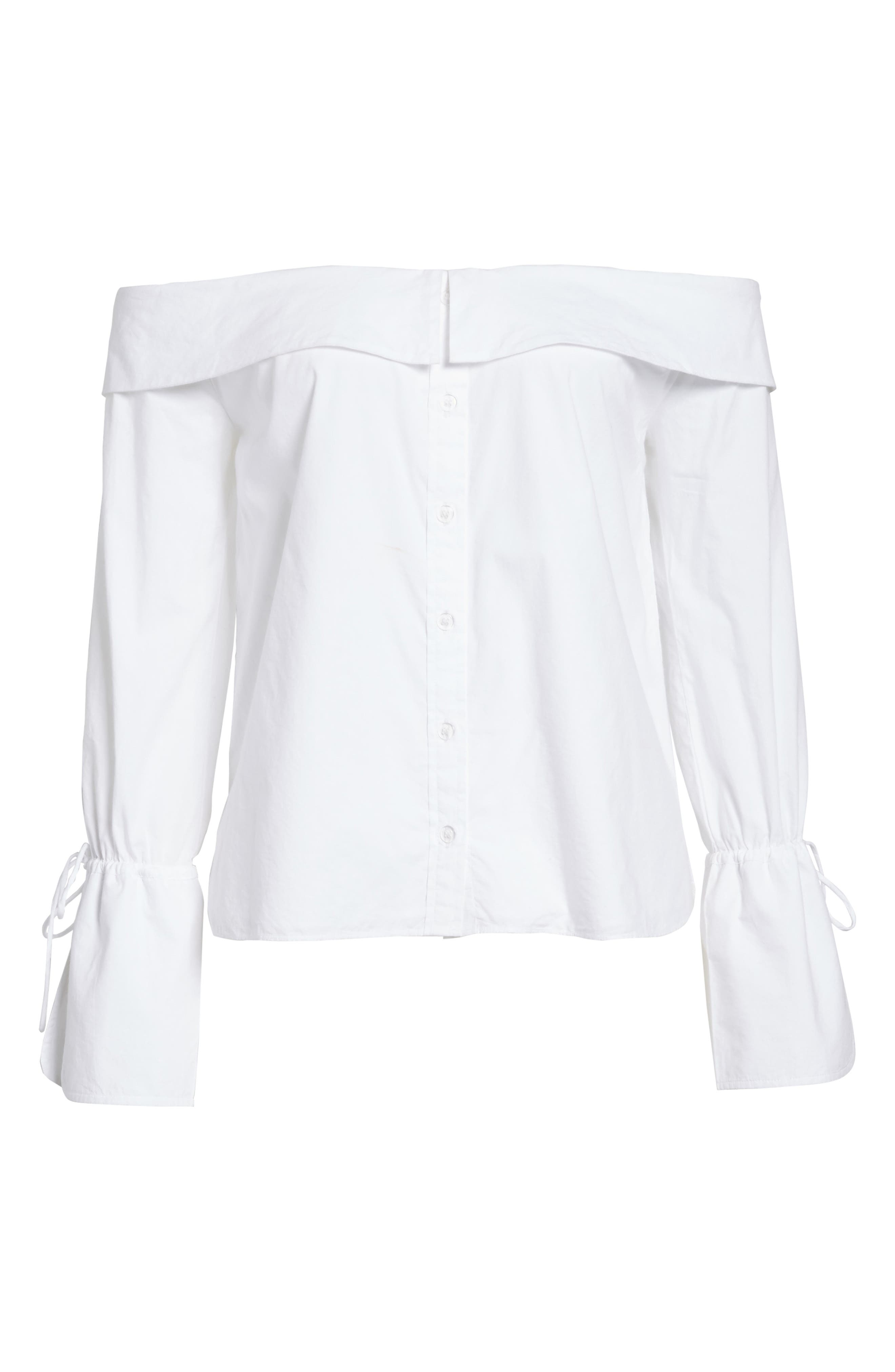 L'Academie Aria Off the Shoulder Blouse,                             Alternate thumbnail 6, color,                             100