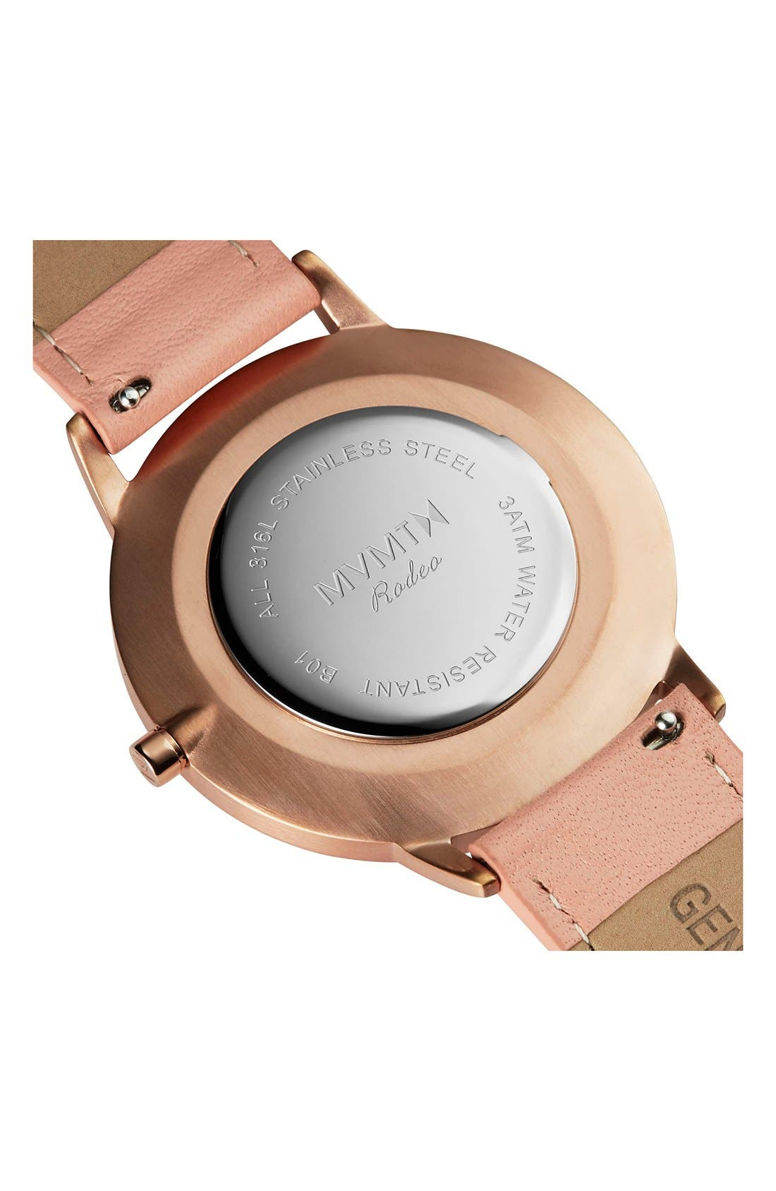 Boulevard Leather Strap Watch, 38mm,                             Alternate thumbnail 3, color,                             PEACH/ WHITE/ ROSE GOLD