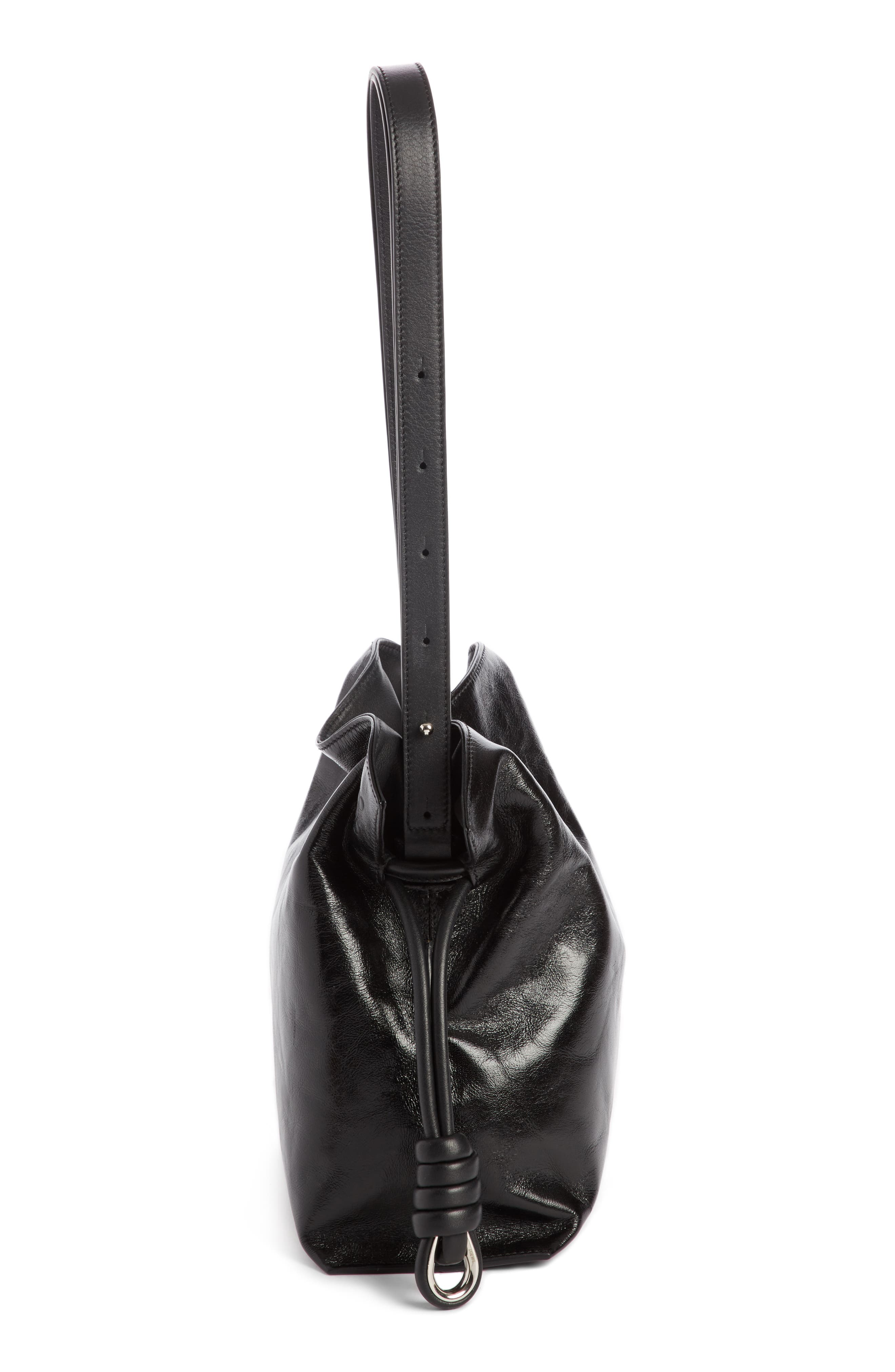 Small Flamenco Knot Leather Bag,                             Alternate thumbnail 3, color,                             001