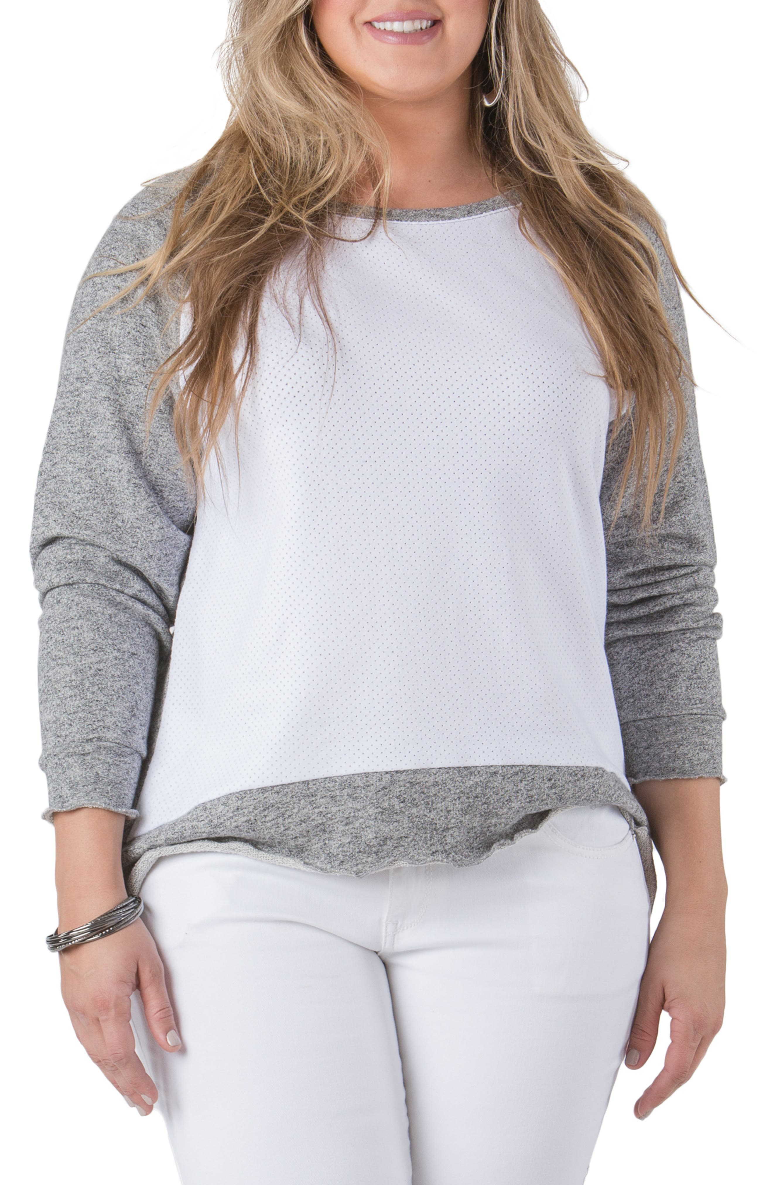 Plus Size Standards & Practices Neesa Raglan Sleeve Baseball Top, Grey