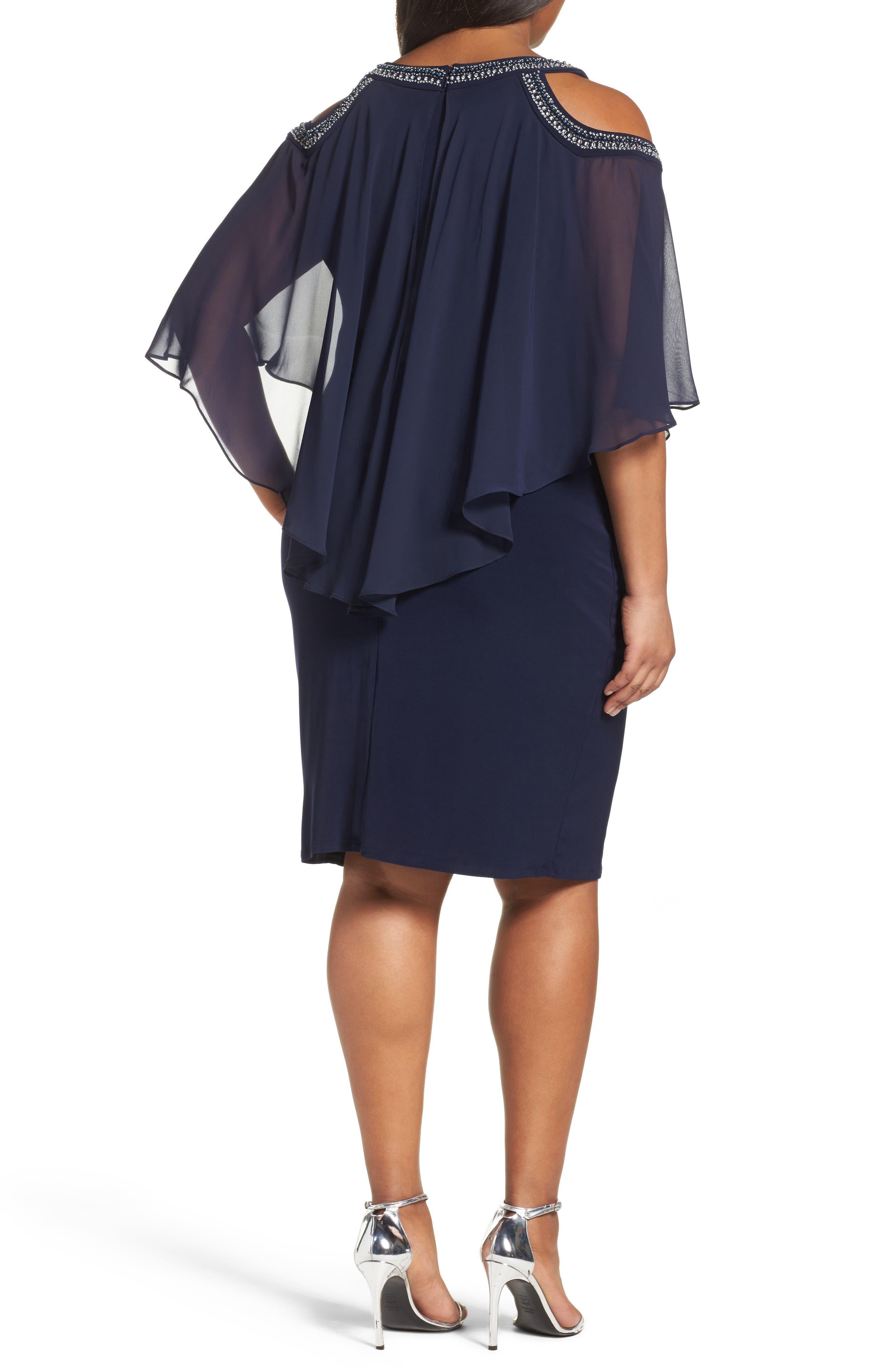Embellished Cold Shoulder Overlay Cocktail Dress,                             Alternate thumbnail 2, color,                             410