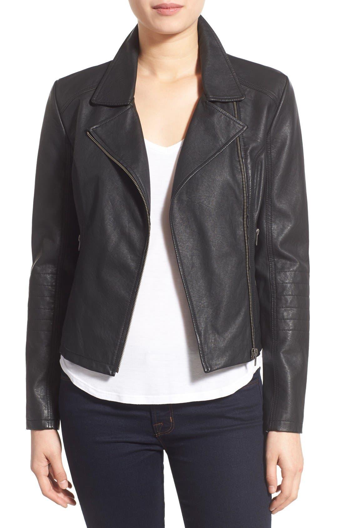 'Sid' Faux Leather Moto Jacket,                             Main thumbnail 1, color,                             001
