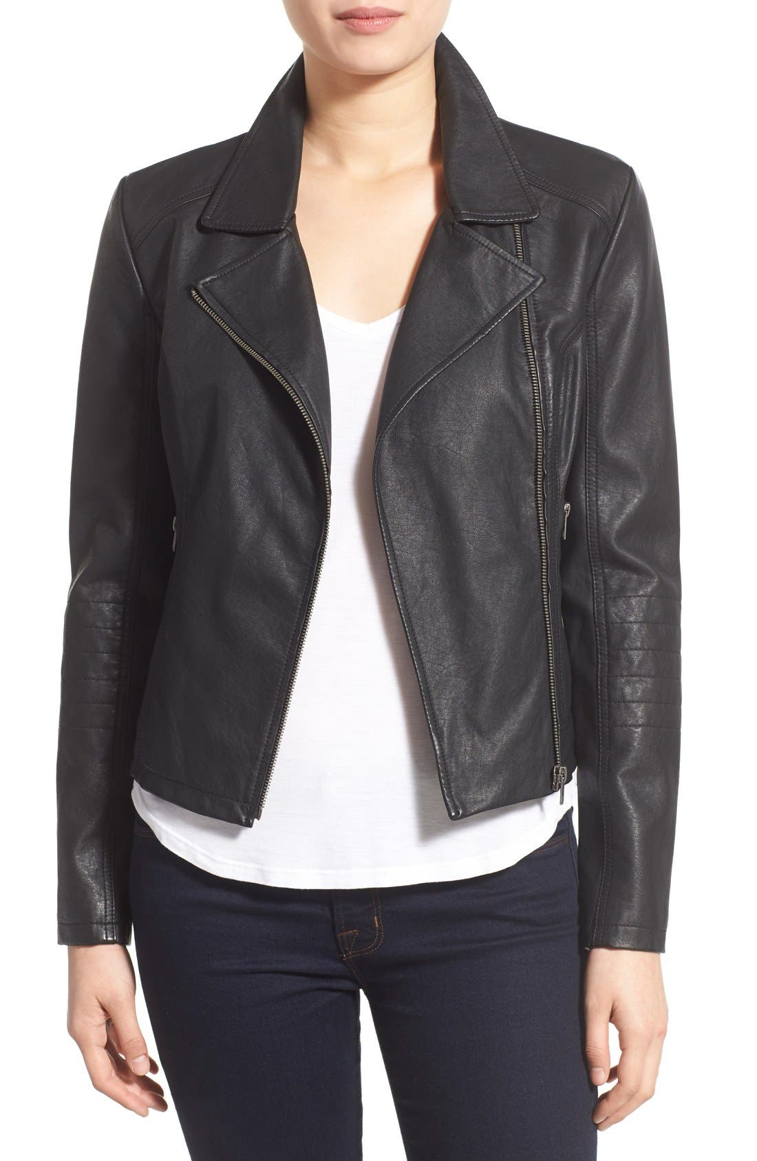 'Sid' Faux Leather Moto Jacket,                         Main,                         color,