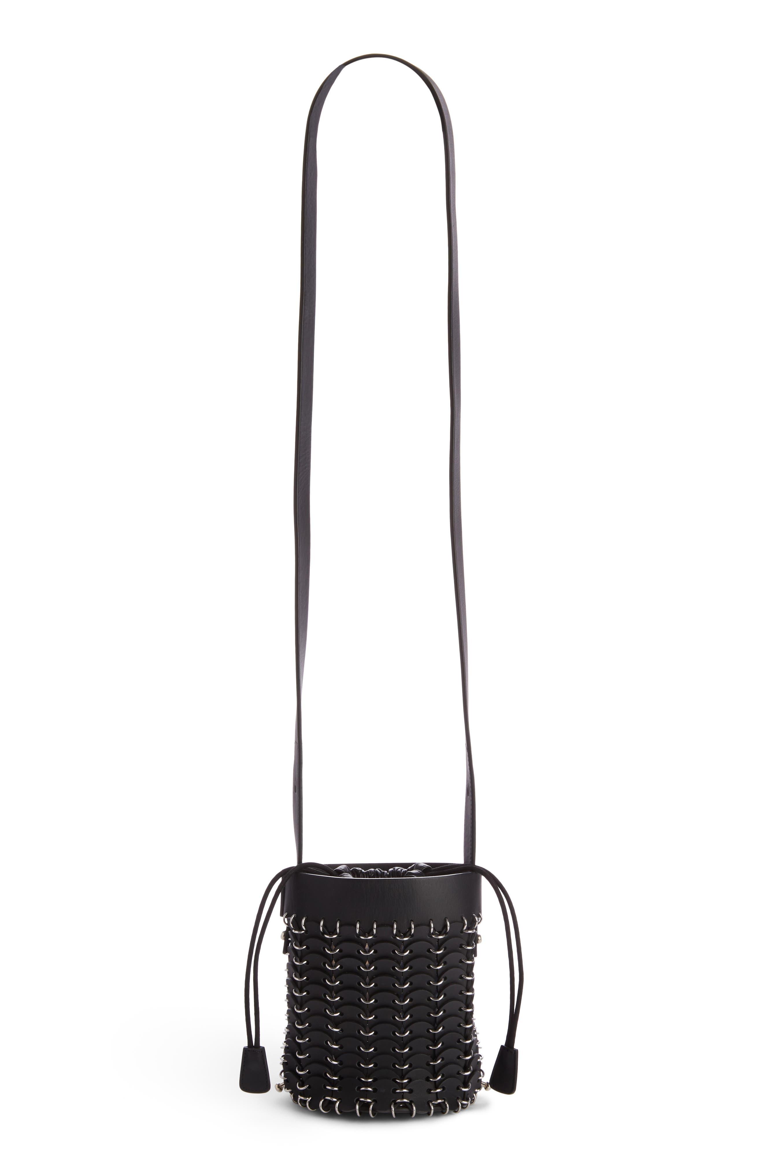 Mini Calfskin Bucket Bag,                             Main thumbnail 1, color,                             BLACK