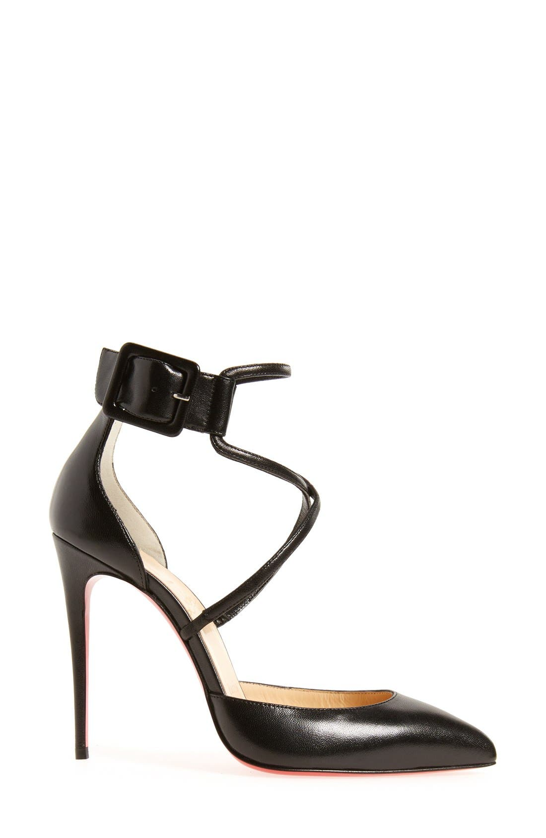 'Suzanna' Pointy Toe Pump,                             Alternate thumbnail 3, color,                             BLACK LEATHER