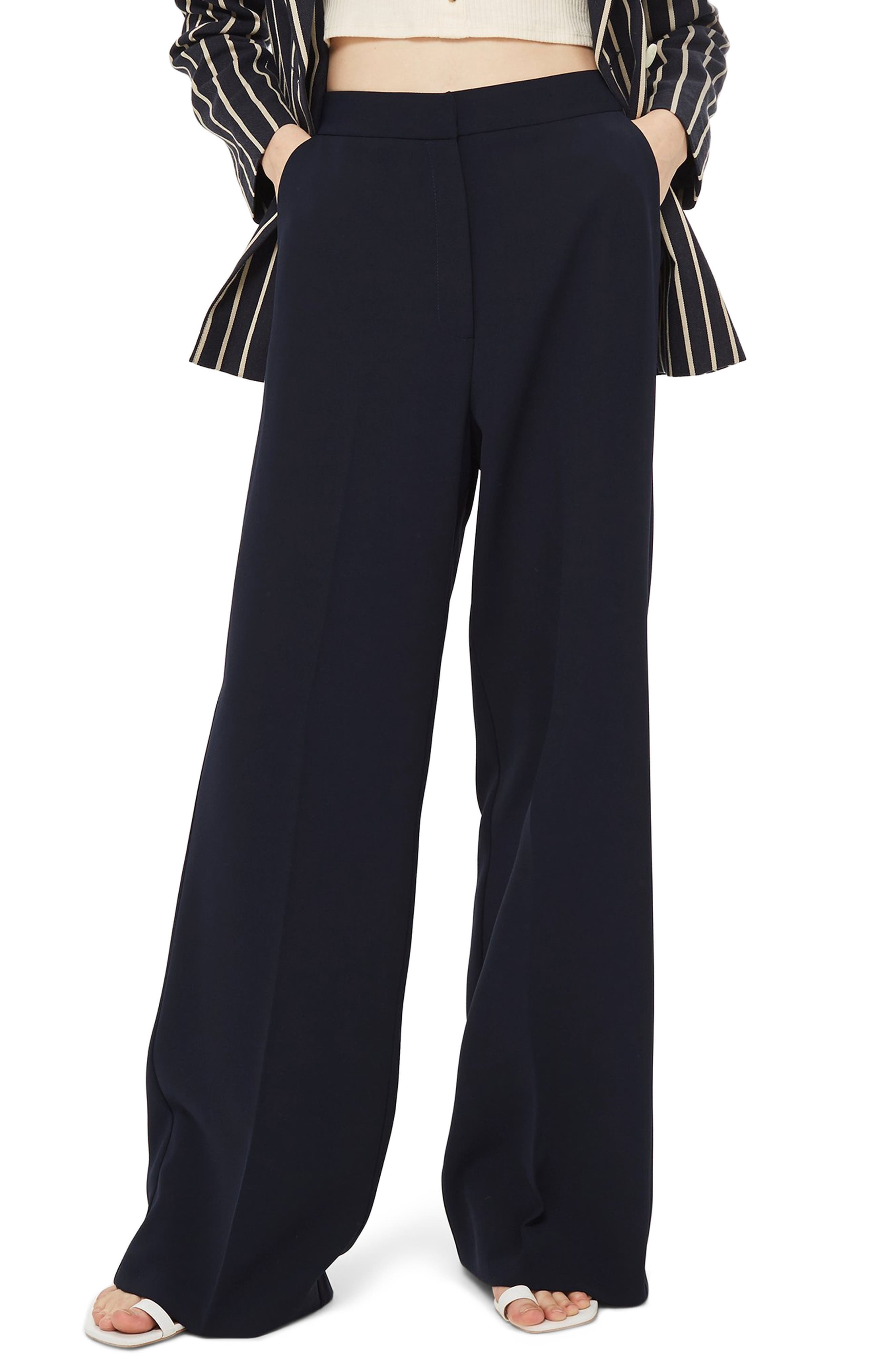 Clean High-Waist Wide Leg Trousers,                             Main thumbnail 1, color,                             NAVY BLUE