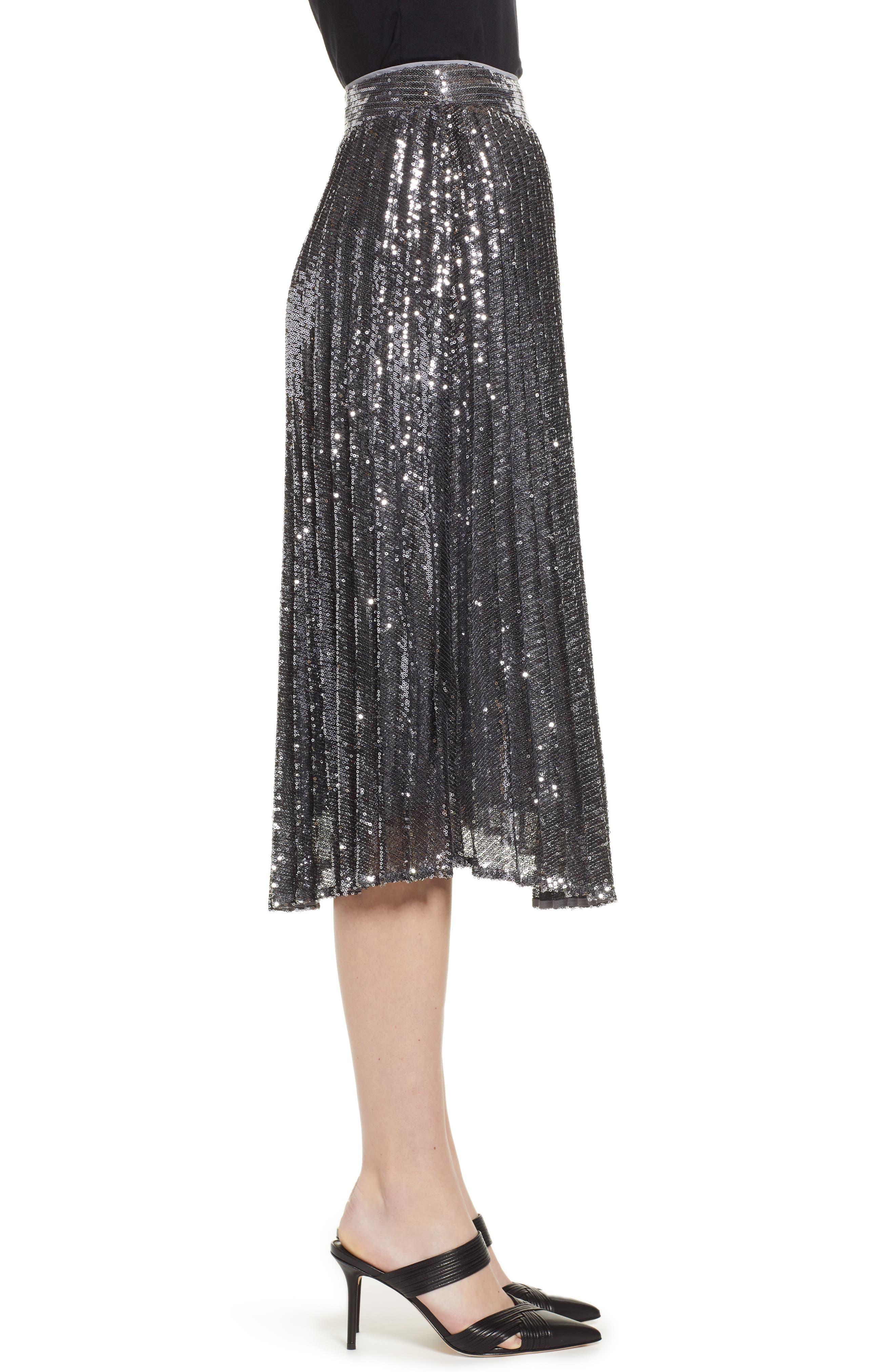 CHELSEA28,                             Sequin Skirt,                             Alternate thumbnail 3, color,                             SILVER