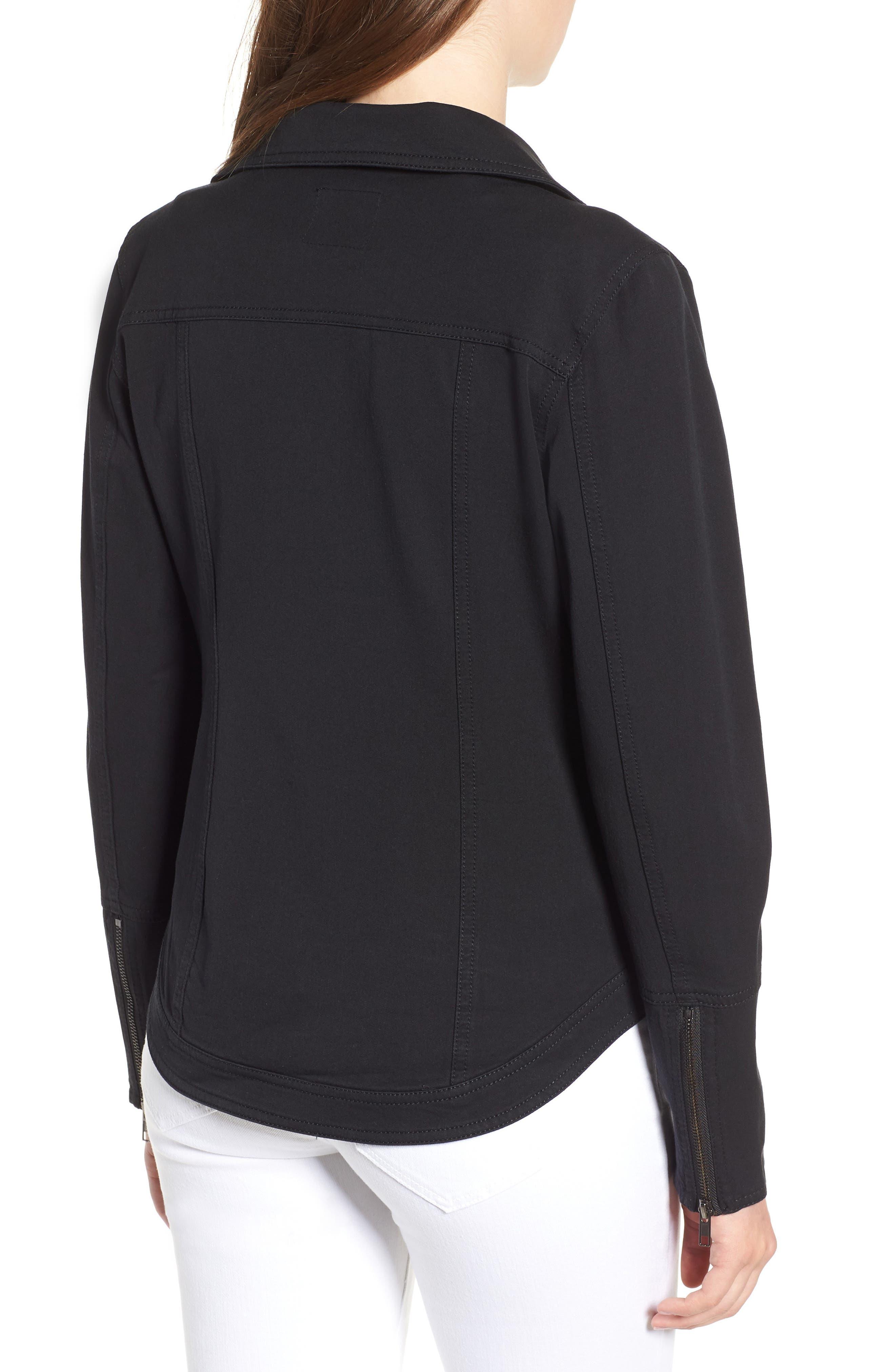 Stretch Cotton Moto Jacket,                             Alternate thumbnail 2, color,                             BLACK