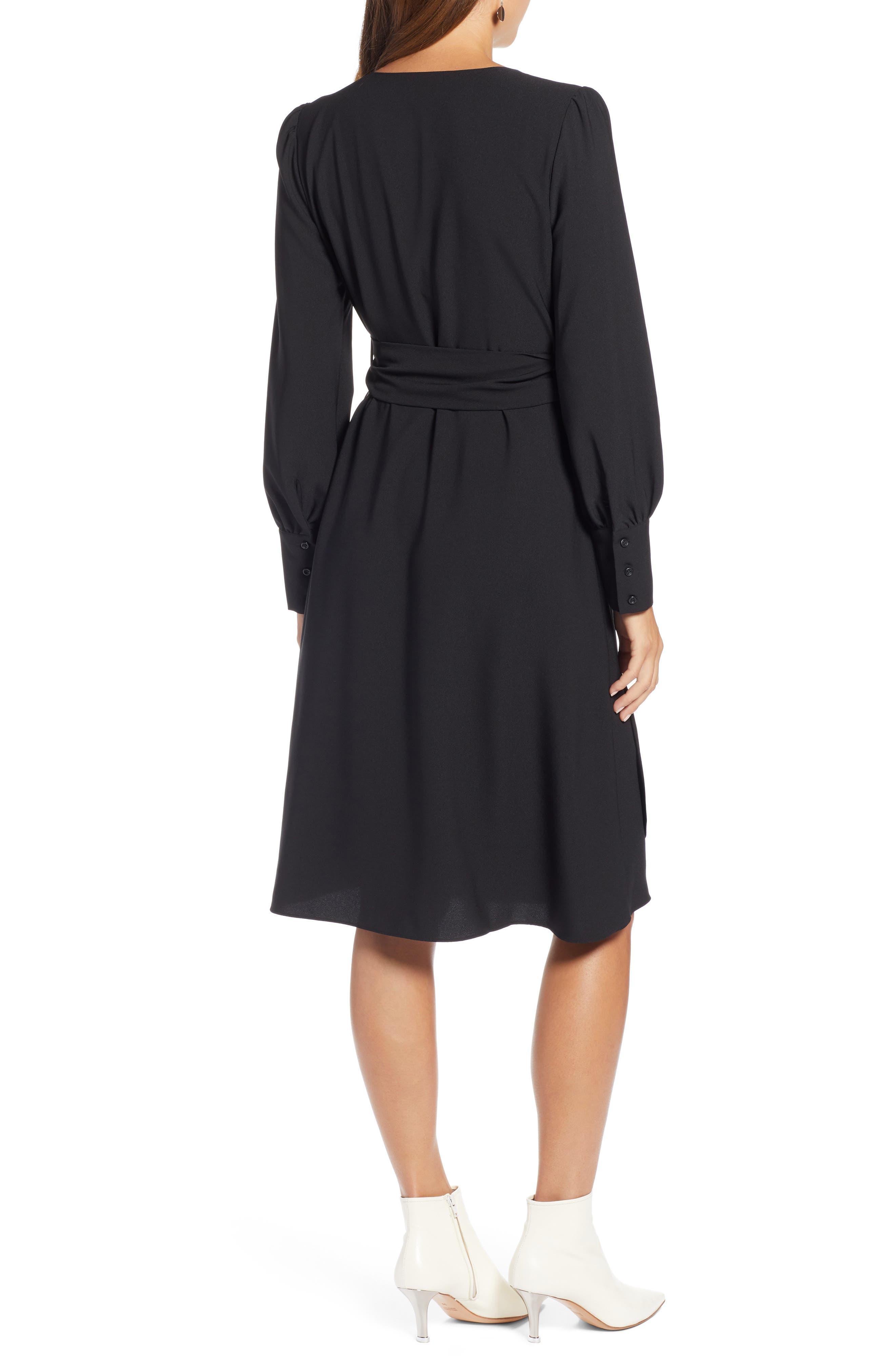 Wrap Dress,                             Alternate thumbnail 2, color,                             BLACK