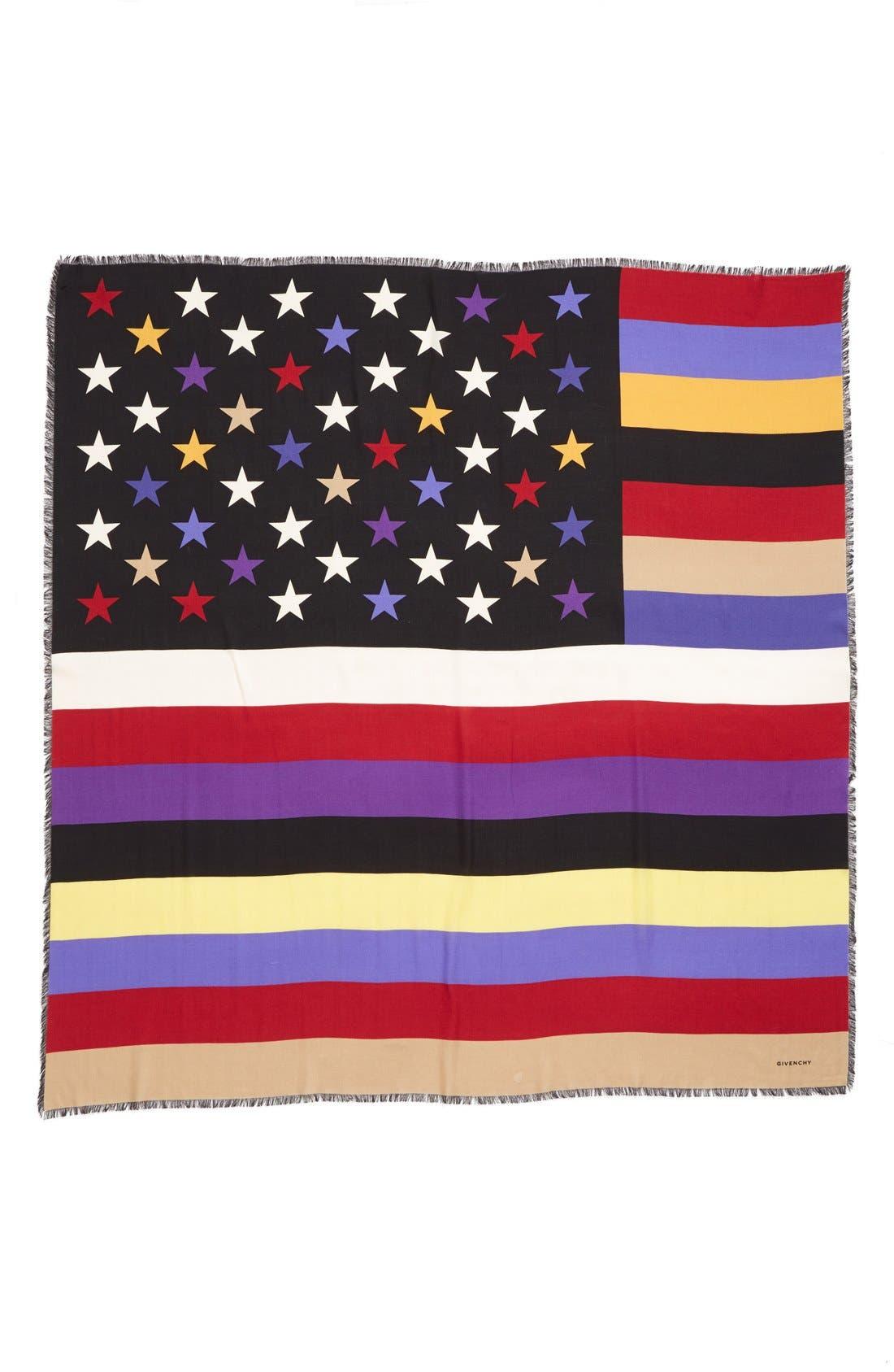 'American Flag' Wool & Silk Scarf,                             Alternate thumbnail 2, color,                             001
