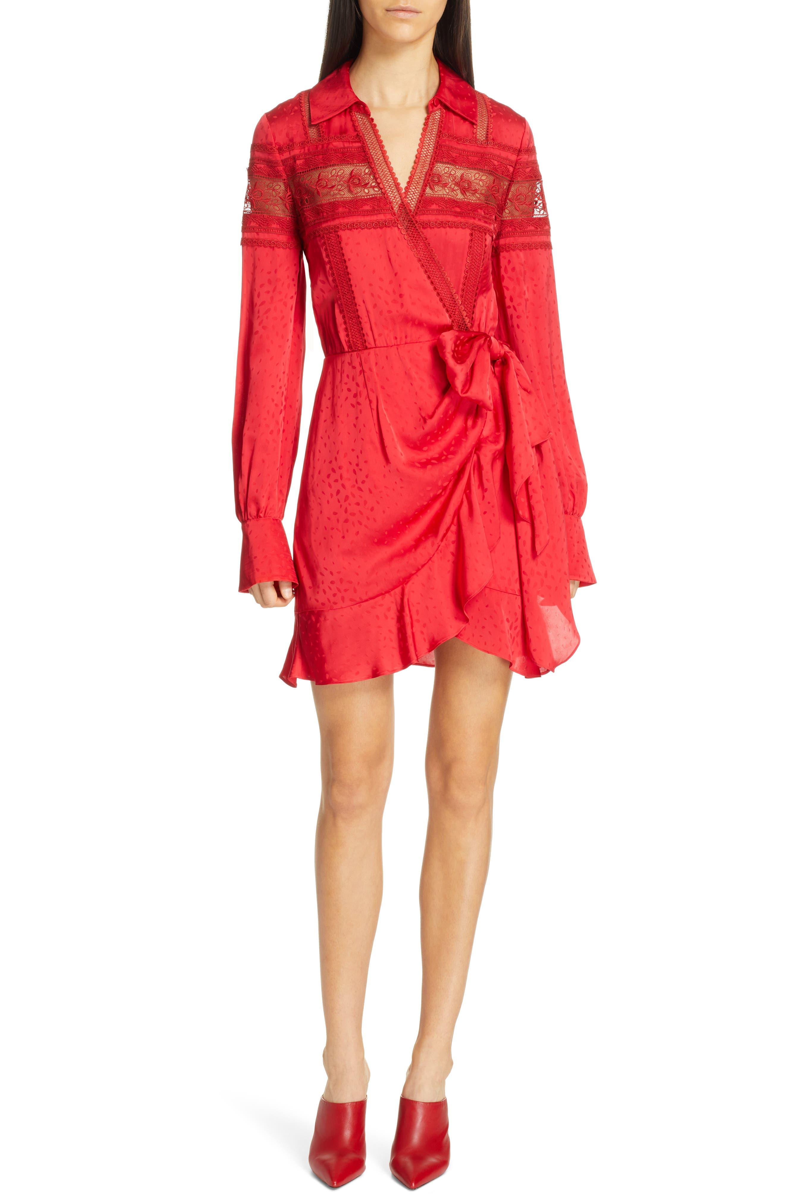 Self-Portrait Lace Trim Jacquard Wrap Dress, Red