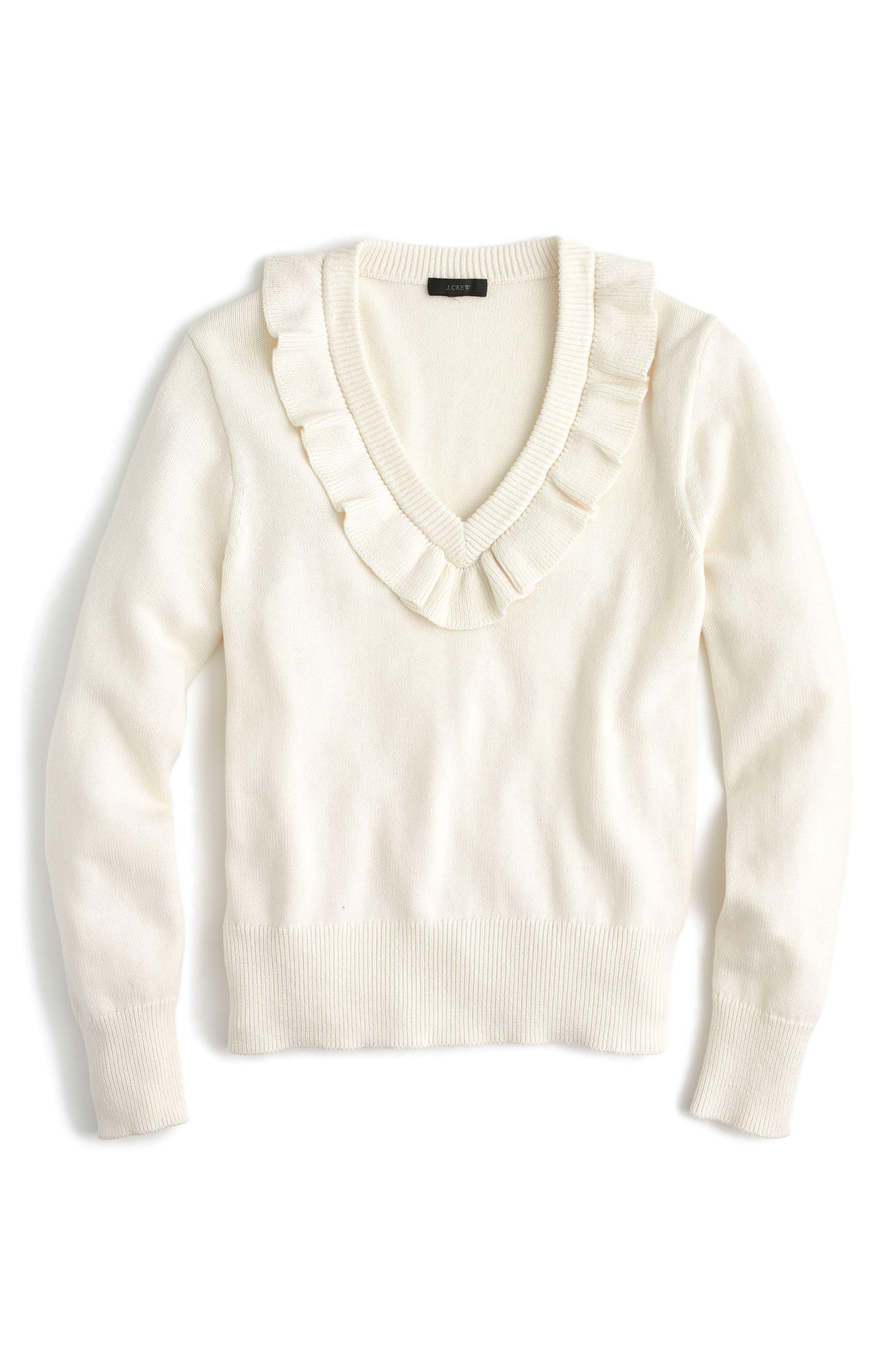 Ruffle V-Neck Sweater,                             Main thumbnail 1, color,