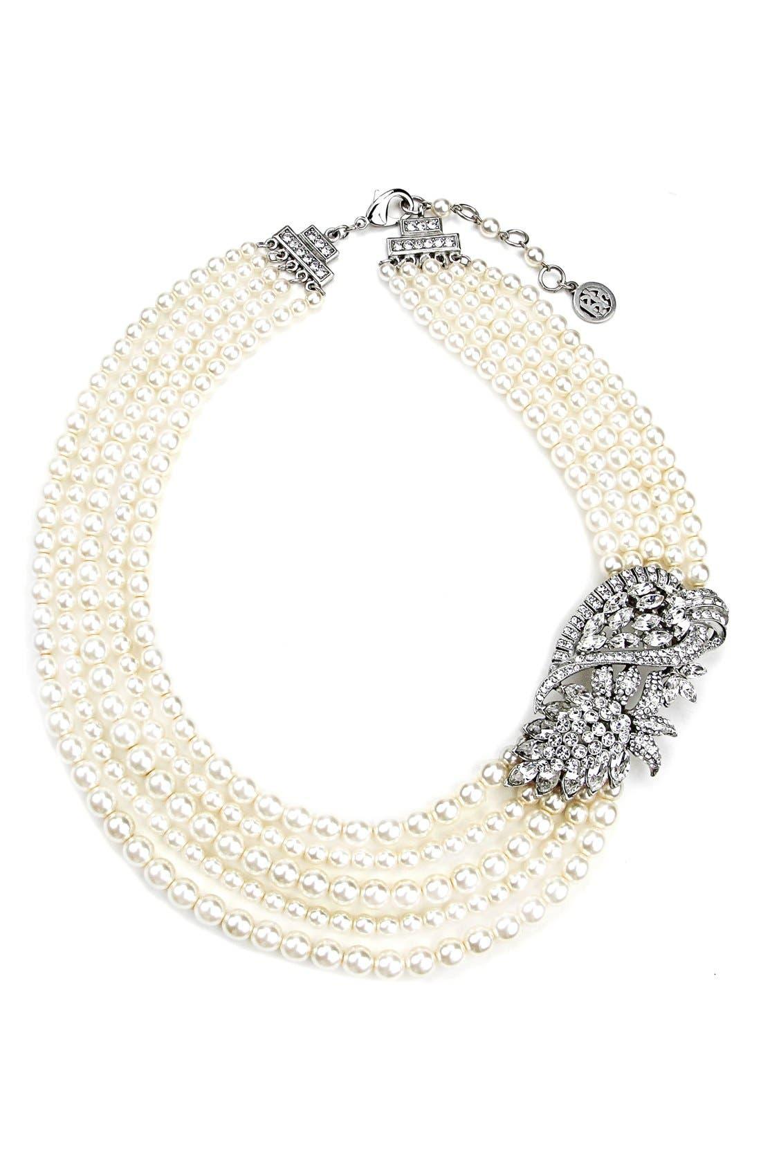 Faux Pearl Statement Necklace,                         Main,                         color, 900