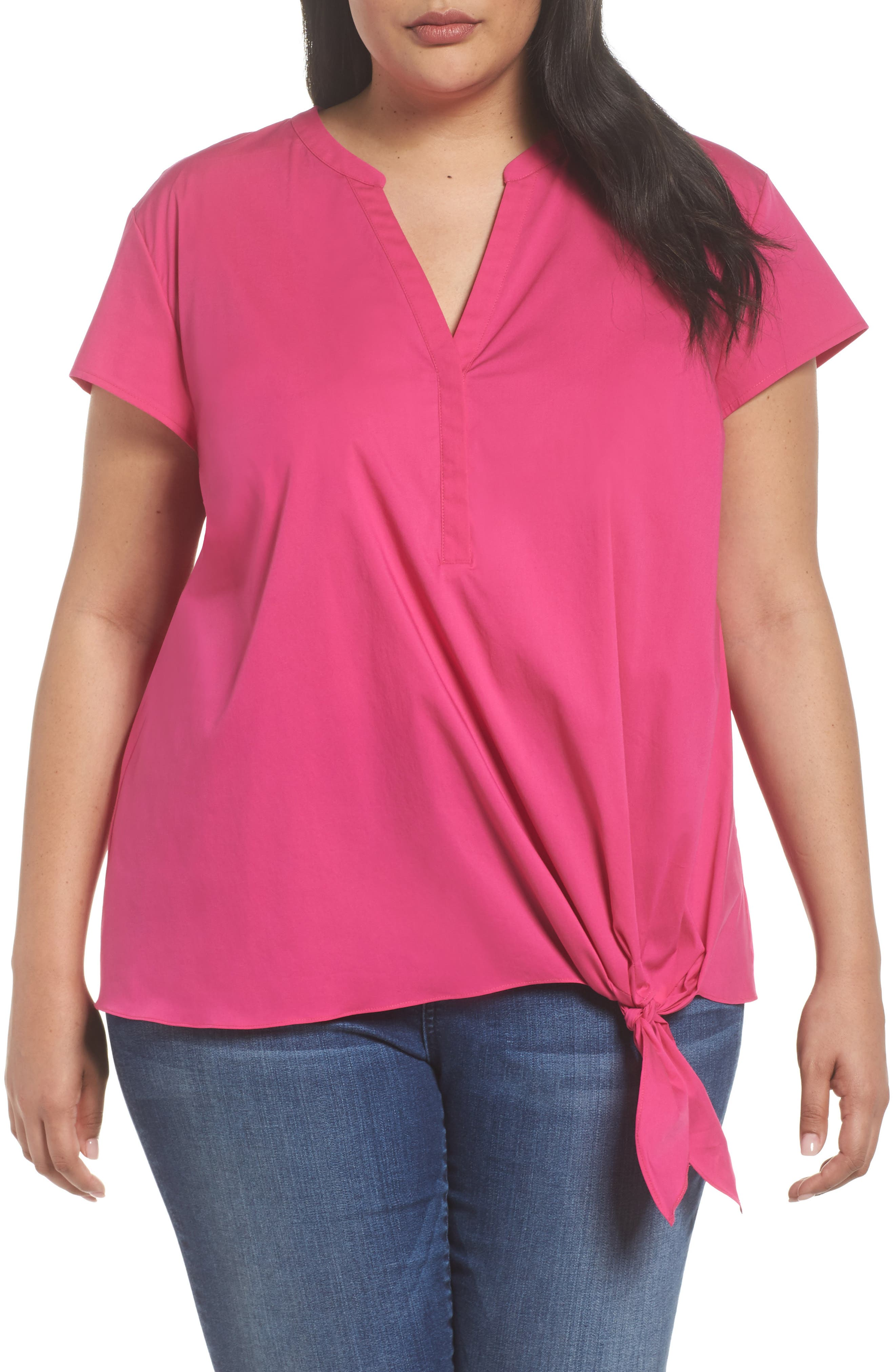 Side Tie Stretch Poplin Top,                             Main thumbnail 3, color,