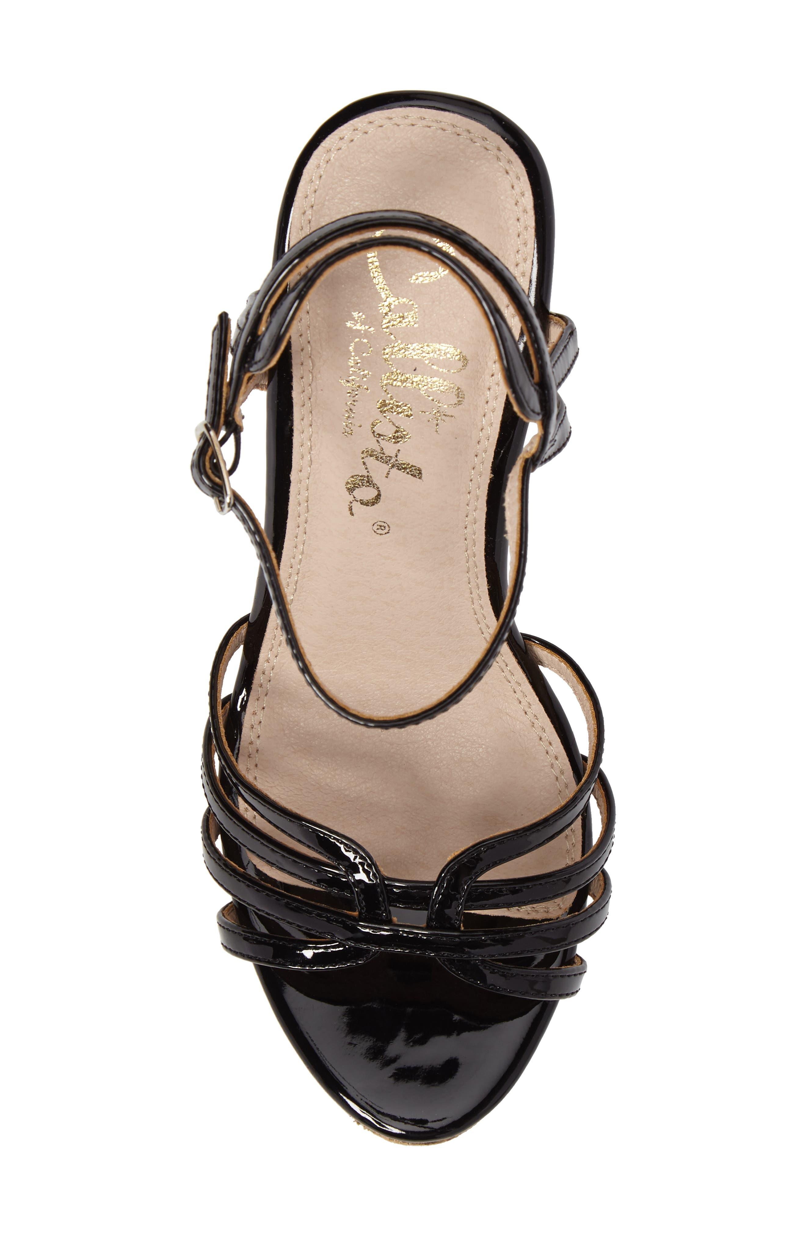 Oasis Platform Wedge Sandal,                             Alternate thumbnail 5, color,                             BLACK SYNTHETIC