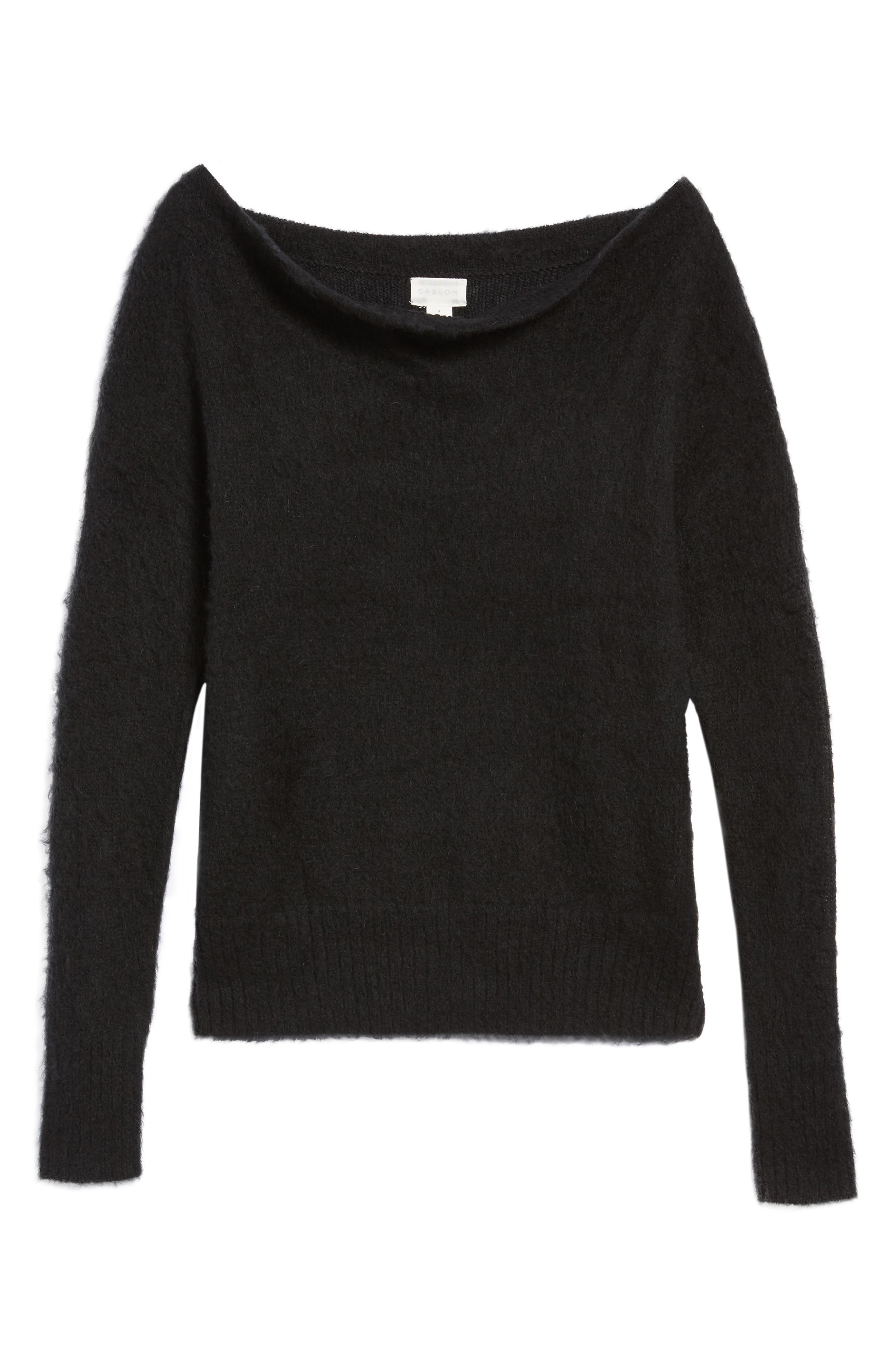 Long Sleeve Brushed Sweater,                             Alternate thumbnail 6, color,                             001
