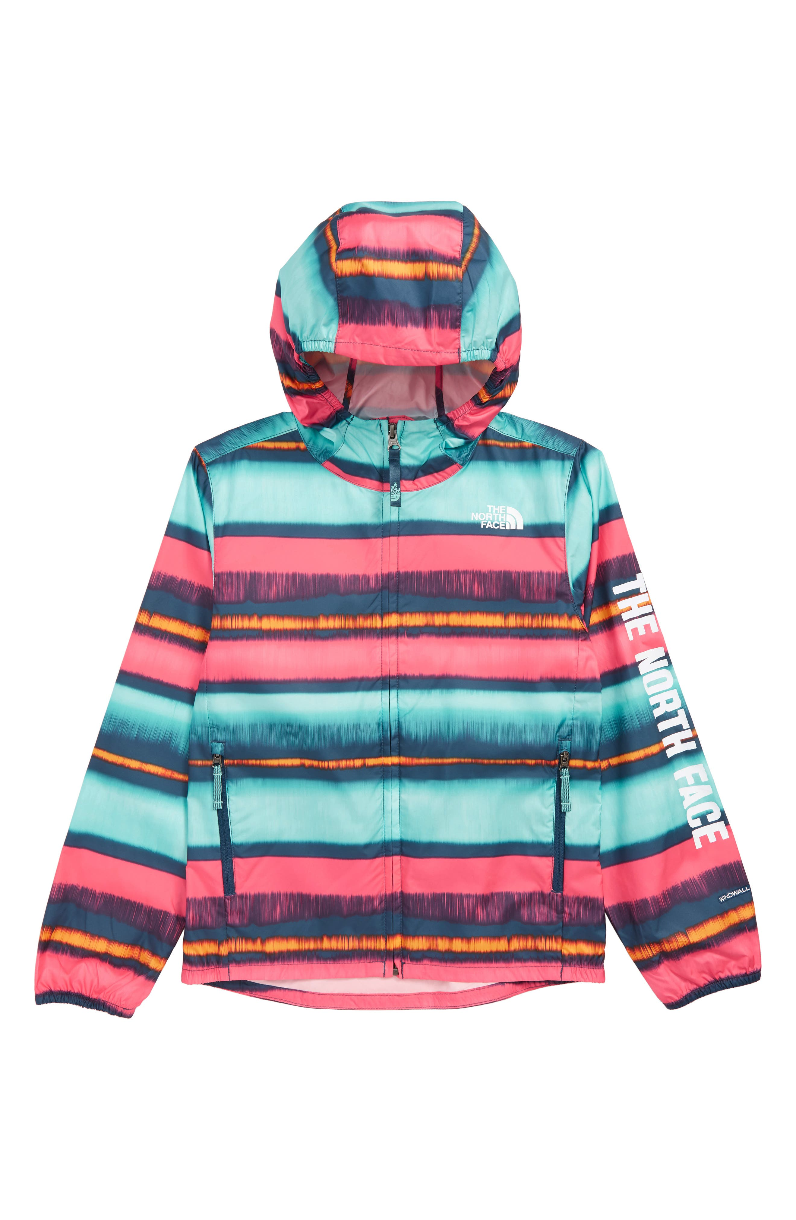 THE NORTH FACE,                             Flurry Hooded Windbreaker,                             Main thumbnail 1, color,                             BLUE WING TEAL STRP
