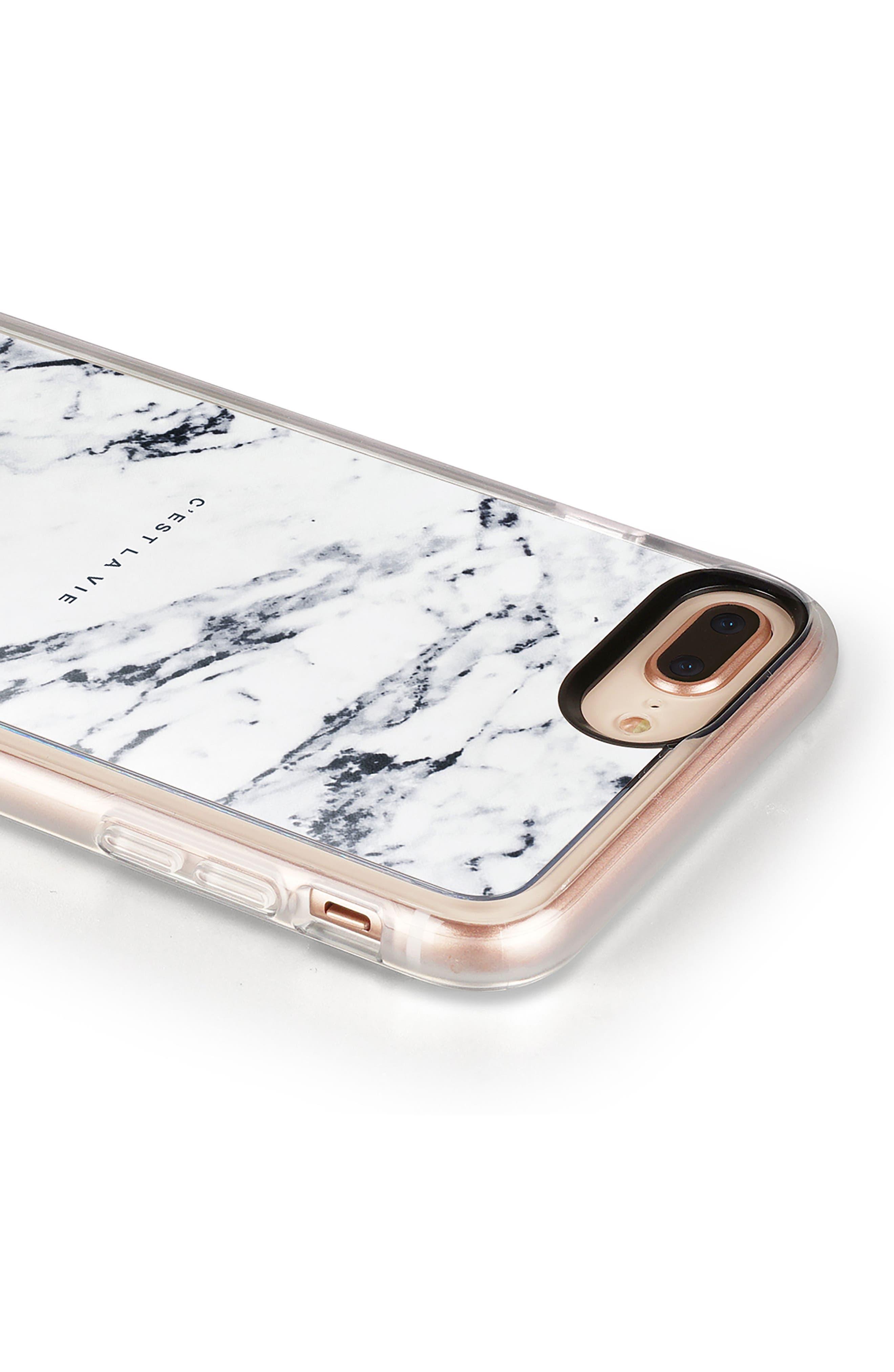 C'est la Vie Marble iPhone 7/8 & 7/8 Plus Case,                             Alternate thumbnail 5, color,                             WHITE MARBLE
